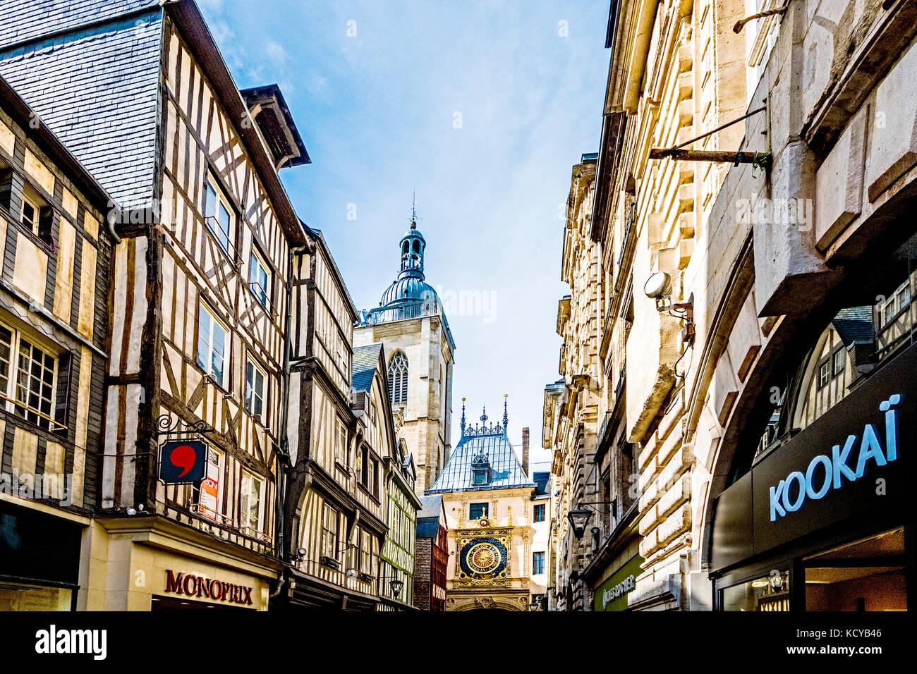 Rouen (Normandy, France)Le Gros Horloge - der Große Uhrturm - Stock Image