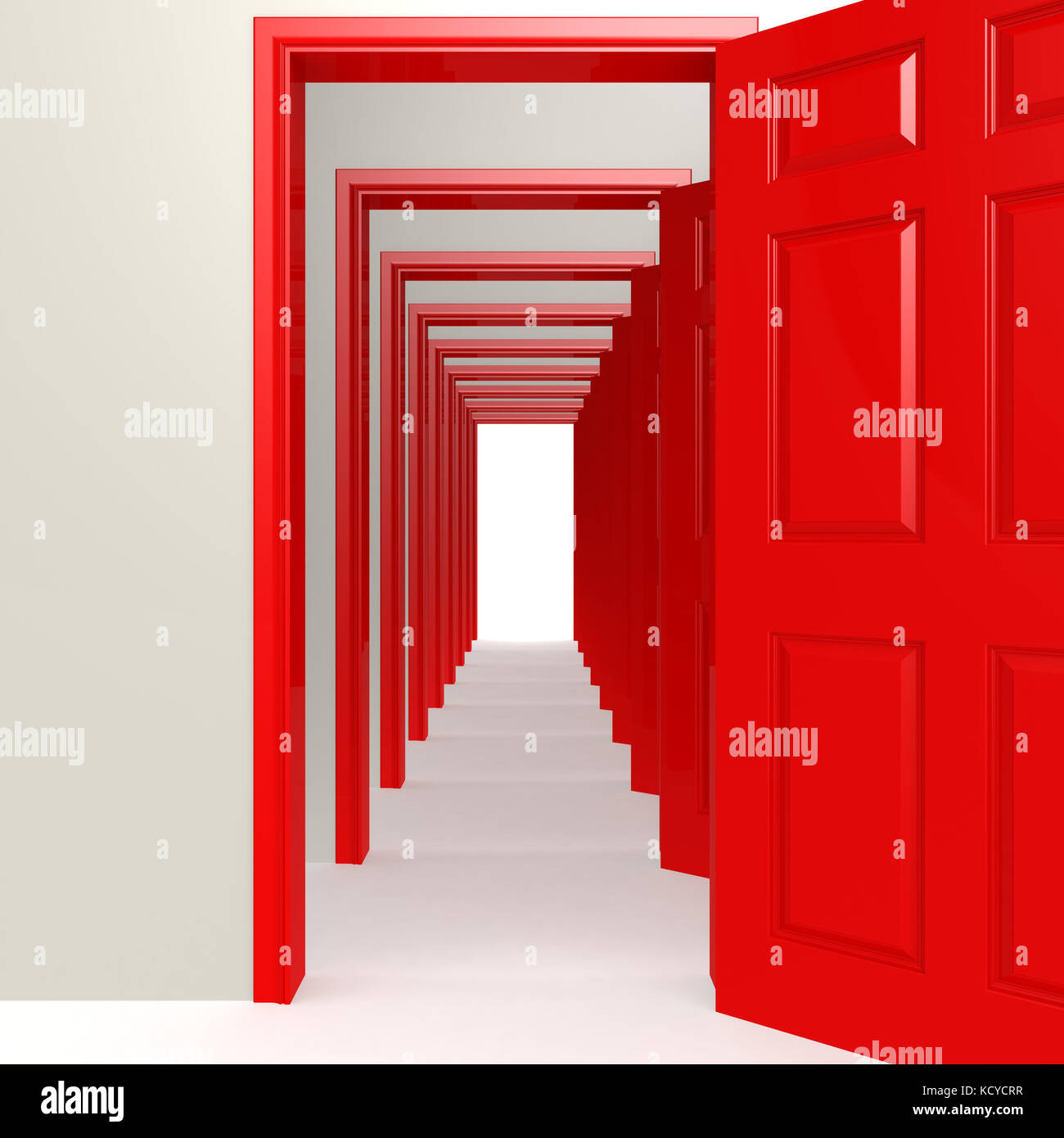 Multiple red doors in a row image with hi-res rendered artwork that could be used for any graphic design. & Multiple red doors in a row image with hi-res rendered artwork that ...