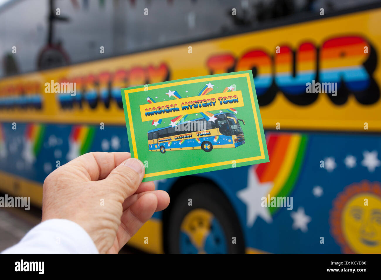 Magical Mystery Tour ticket and bus, Albert Dock, Liverpool, Merseyside - Stock Image