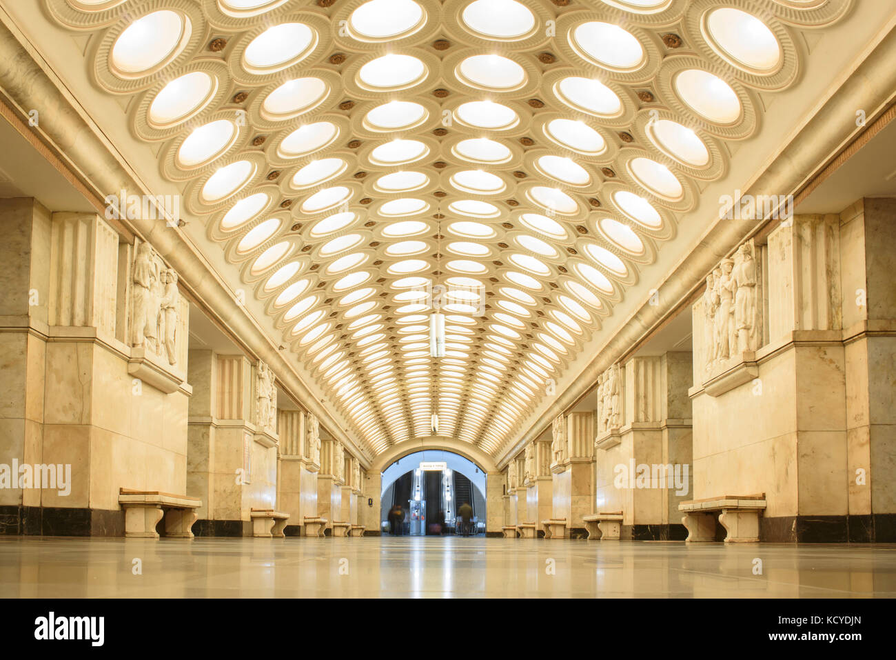 Elektrozavodskaya station.  It is one of the most spectacular and better-known stations of the system. Built as Stock Photo