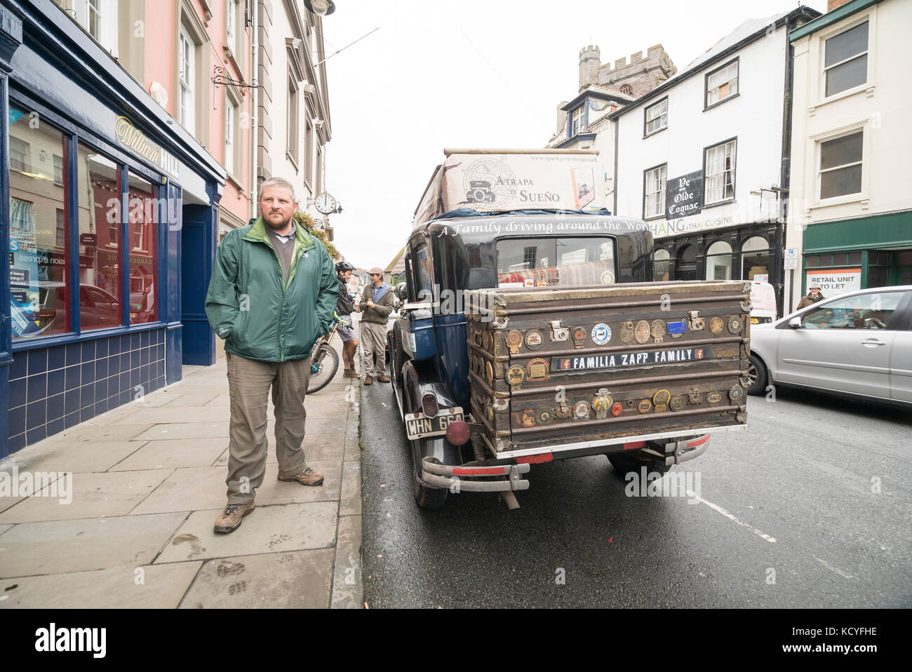 Zapp Family's car, a vintage 1928 Graham Paige stops in Brecon Town, Wales Stock Photo