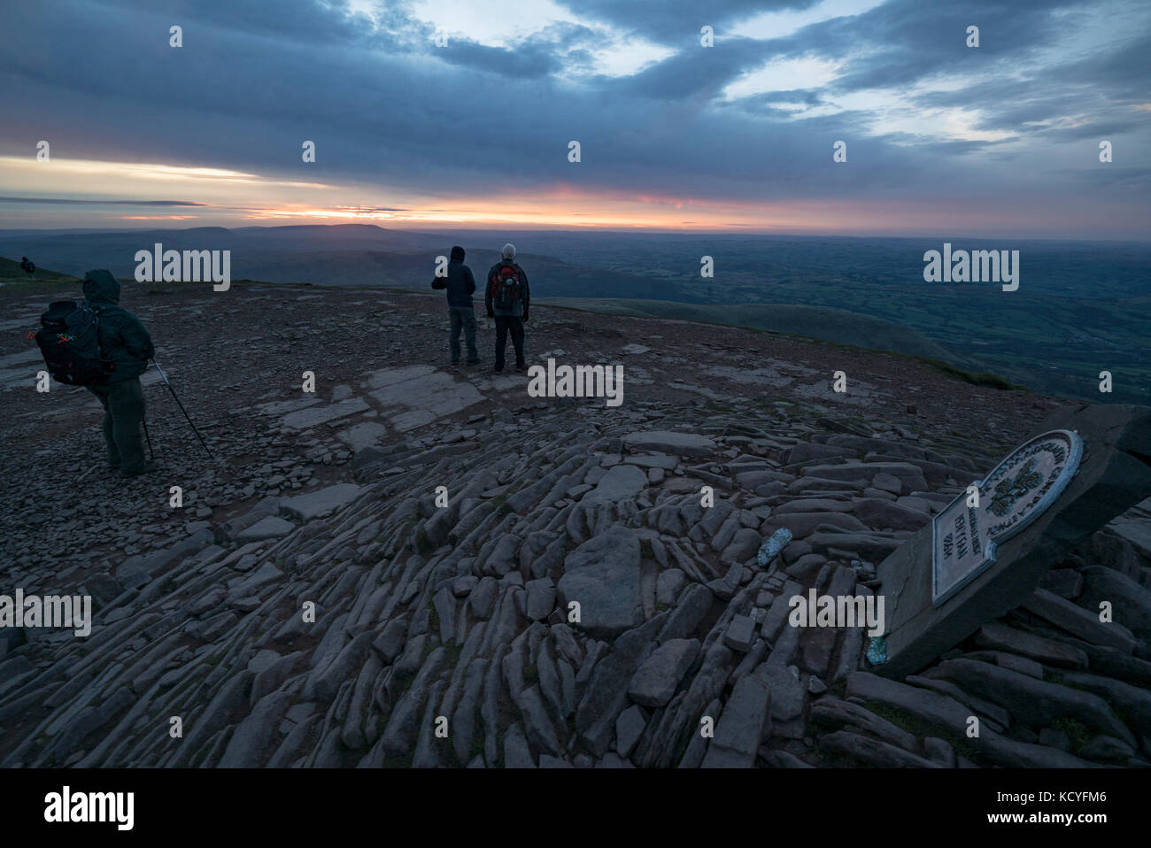 overlooking the welsh landscape at sunset from Pen Y Fan - Stock Image