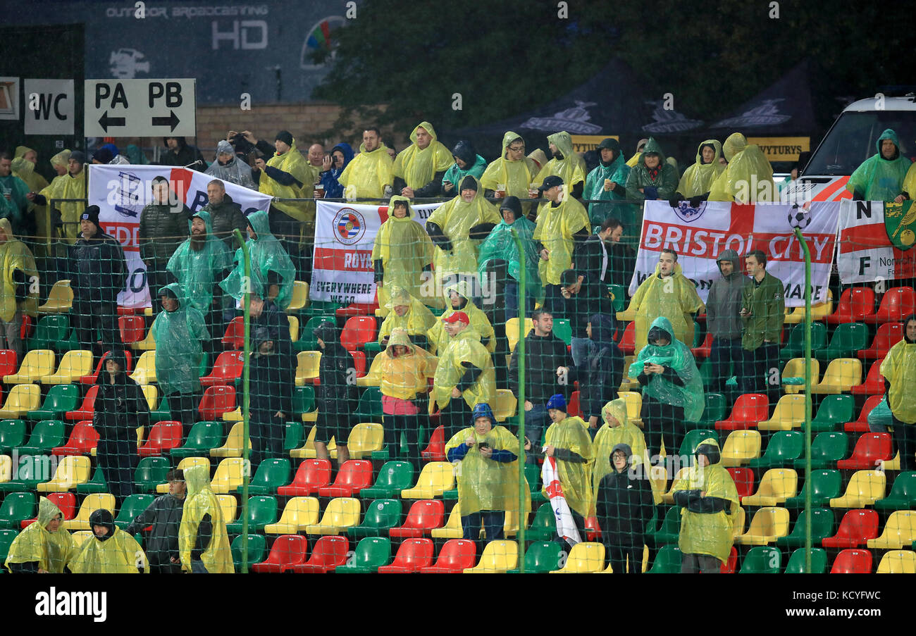 England fans wearing plastic ponchos to keep the rain off during the 2018 FIFA World Cup Qualifying Group F match - Stock Image