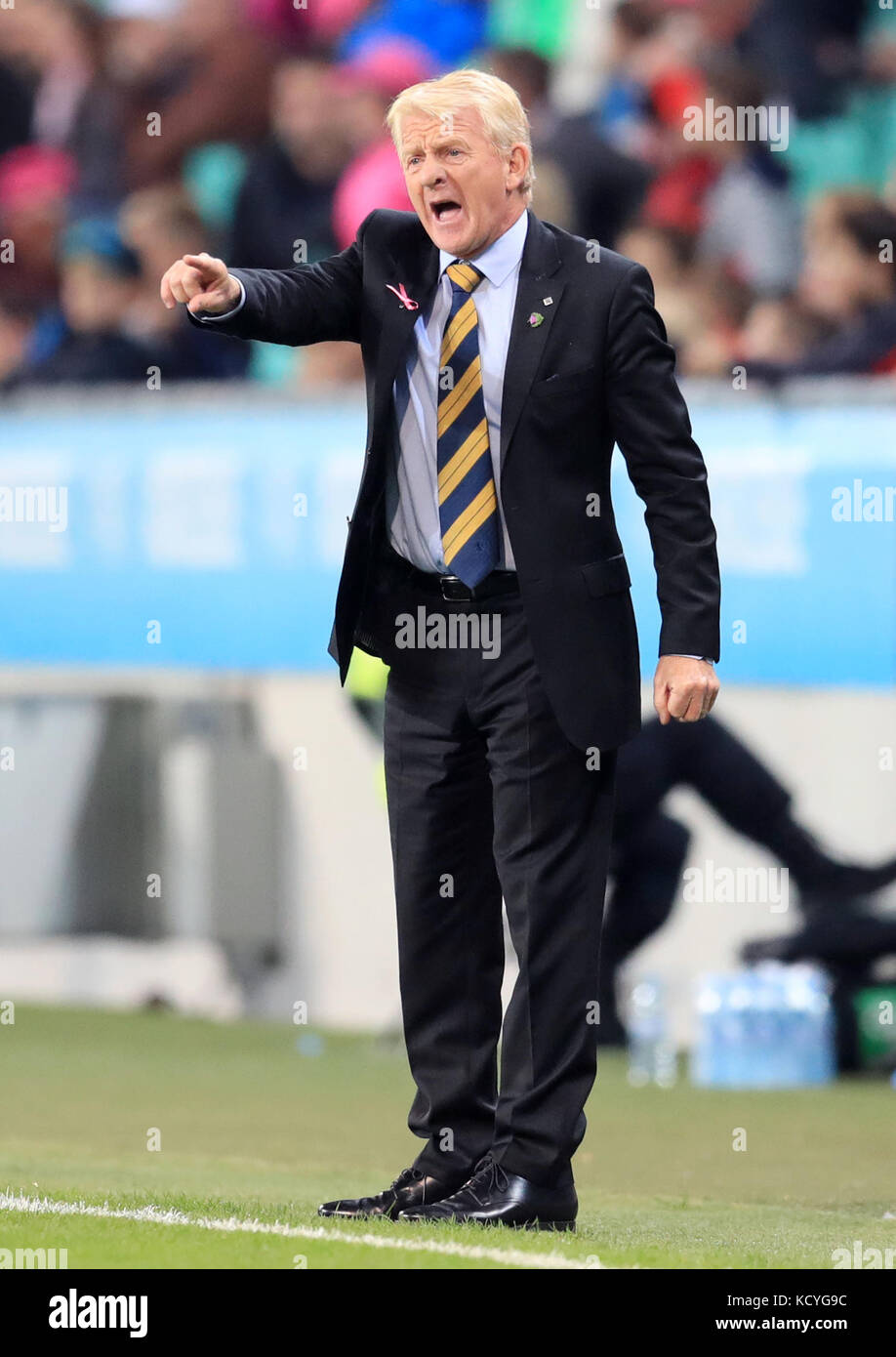 Scotland Manager Gordon Strachan Gestures On The Touchline During 2018 Fifa World Cup Qualifying Group F Match At Stadion Stozice Ljubljana