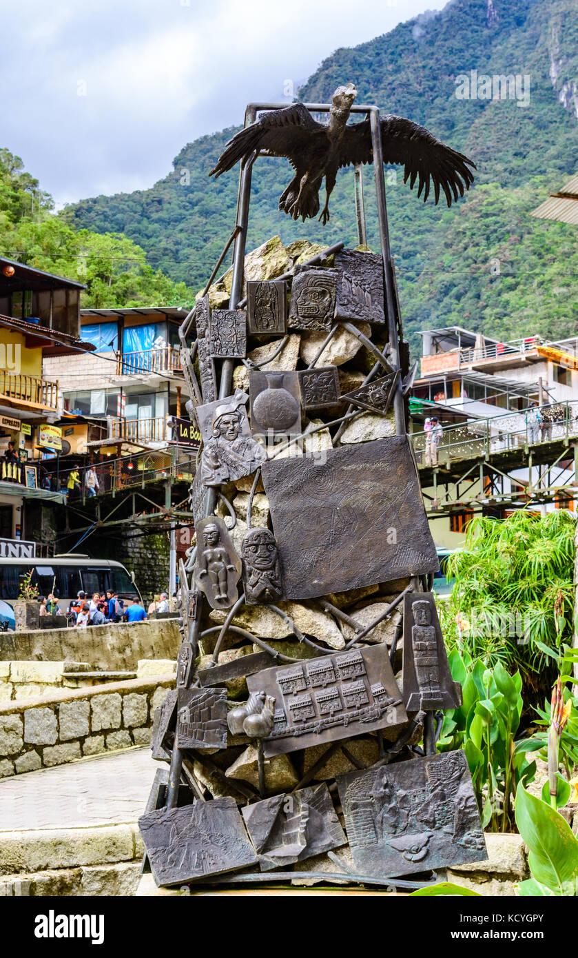 Aguas Calientes, Cusco,Peru -29 April 2017: Condor statue and in - Stock Image