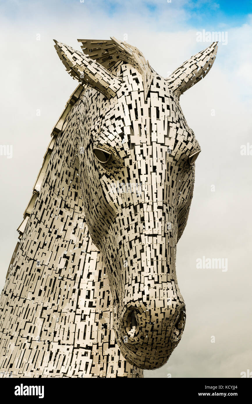 The Kelpies,mythical horse head sculptures, Heiix Park,Forth and Clyde Canal  Falkirk, Stirlingshire, Scotland - Stock Image