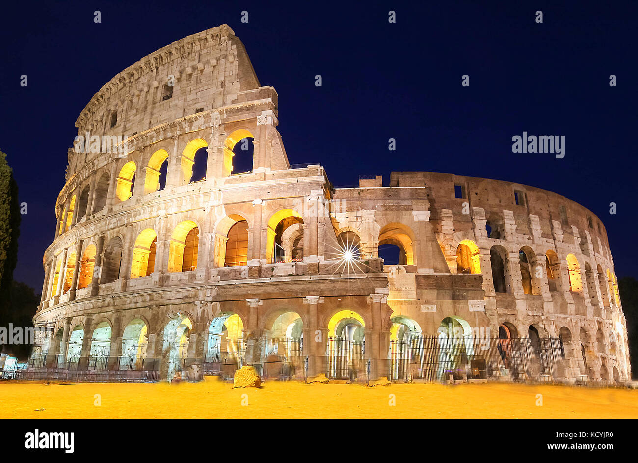 The famous Colosseum at night, Rome, Italy. - Stock Image