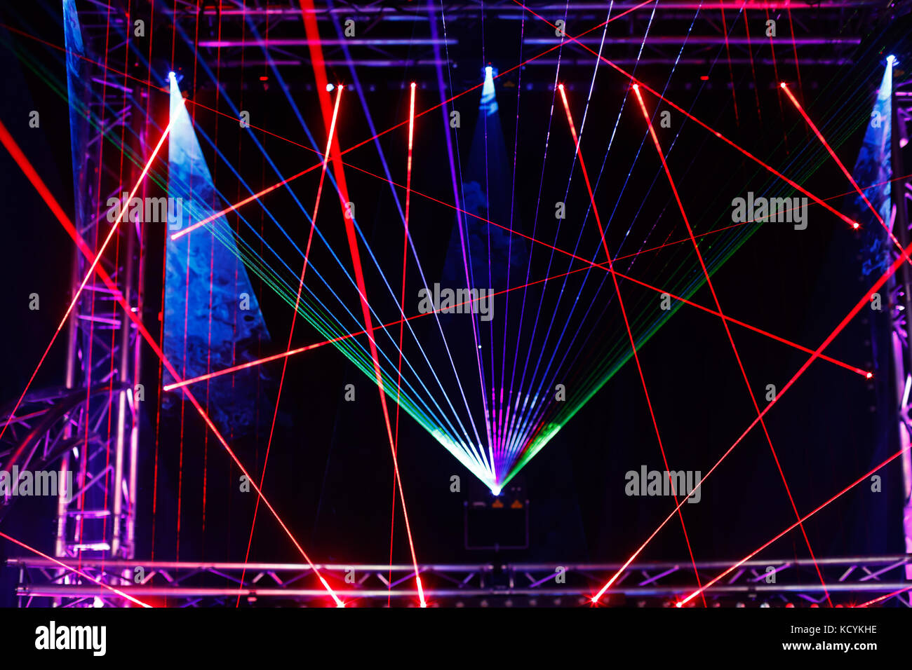 Laser light show on the club stage. - Stock Image