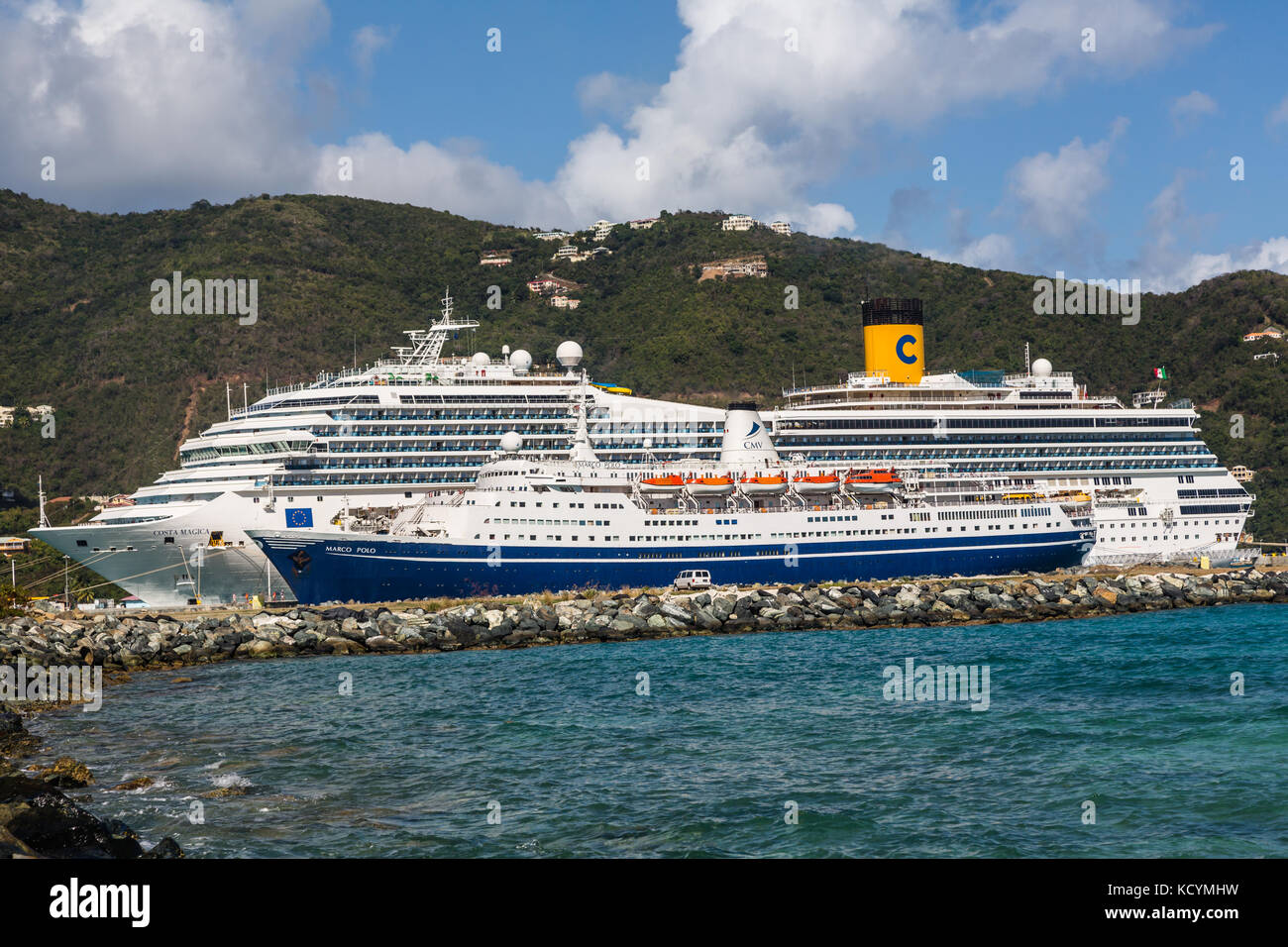 Marco Polo and Costa Magica docked in Road Town, Tortola, British Virgin Islands - Stock Image