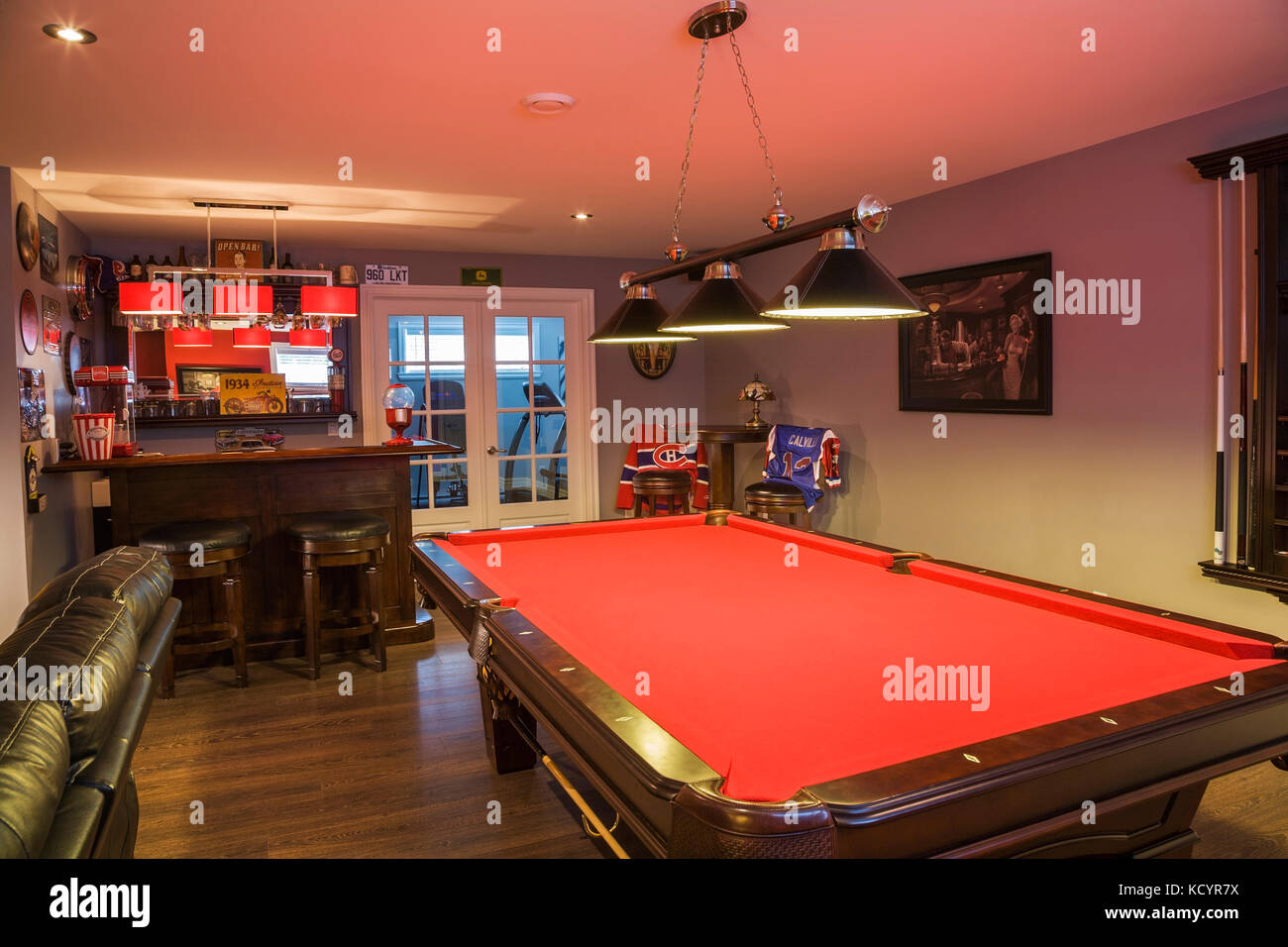 Pool Table And Bar In The Family Room In The Basement Inside A Contemporary  Country Style