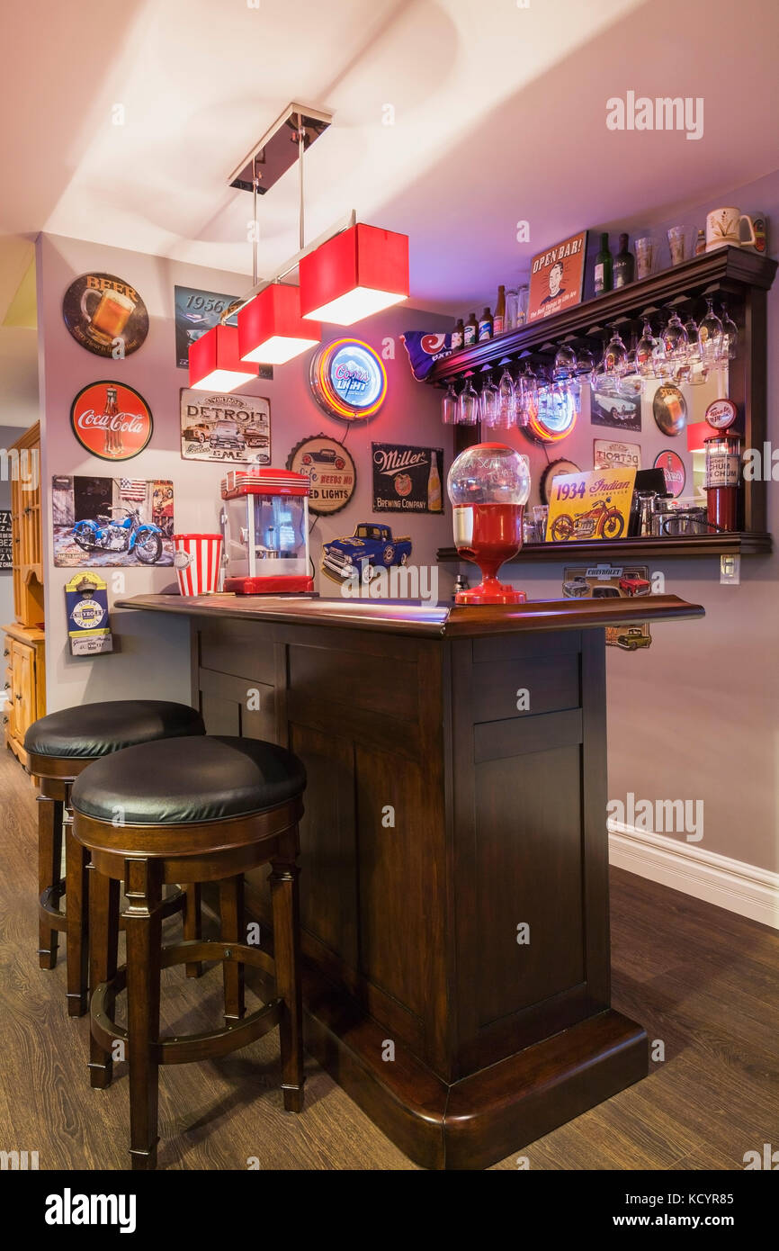 Bar In The Family Room In The Basement Inside A Contemporary Country Style  Residential Home,