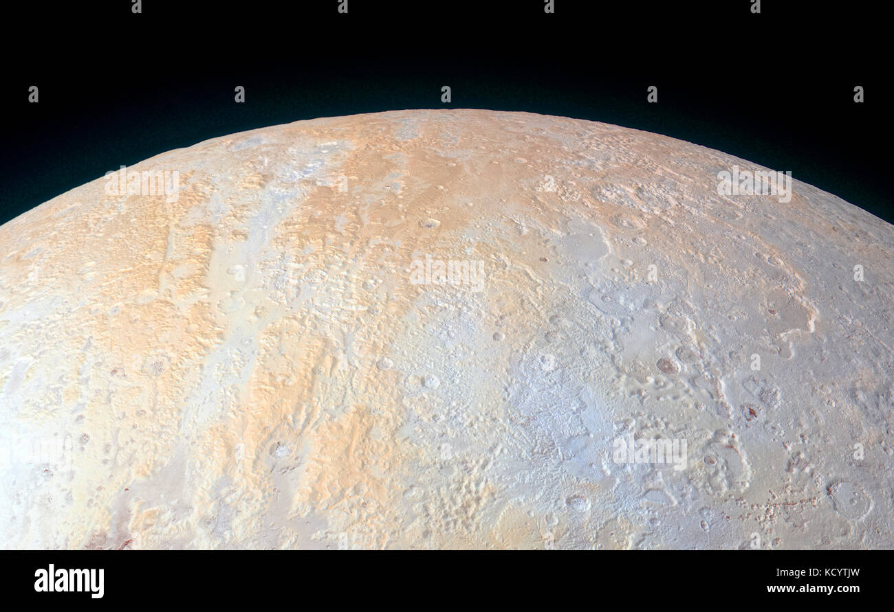 The Northern polar area of Pluto, showing a surprisingly diverse range of geological and topographic features. Enhanced - Stock Image