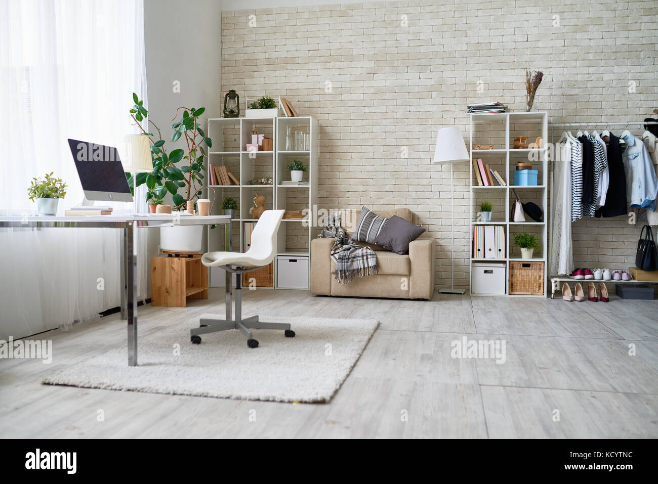 Good Background Image Of Empty Office Space In Cozy Apartment With Modern Design