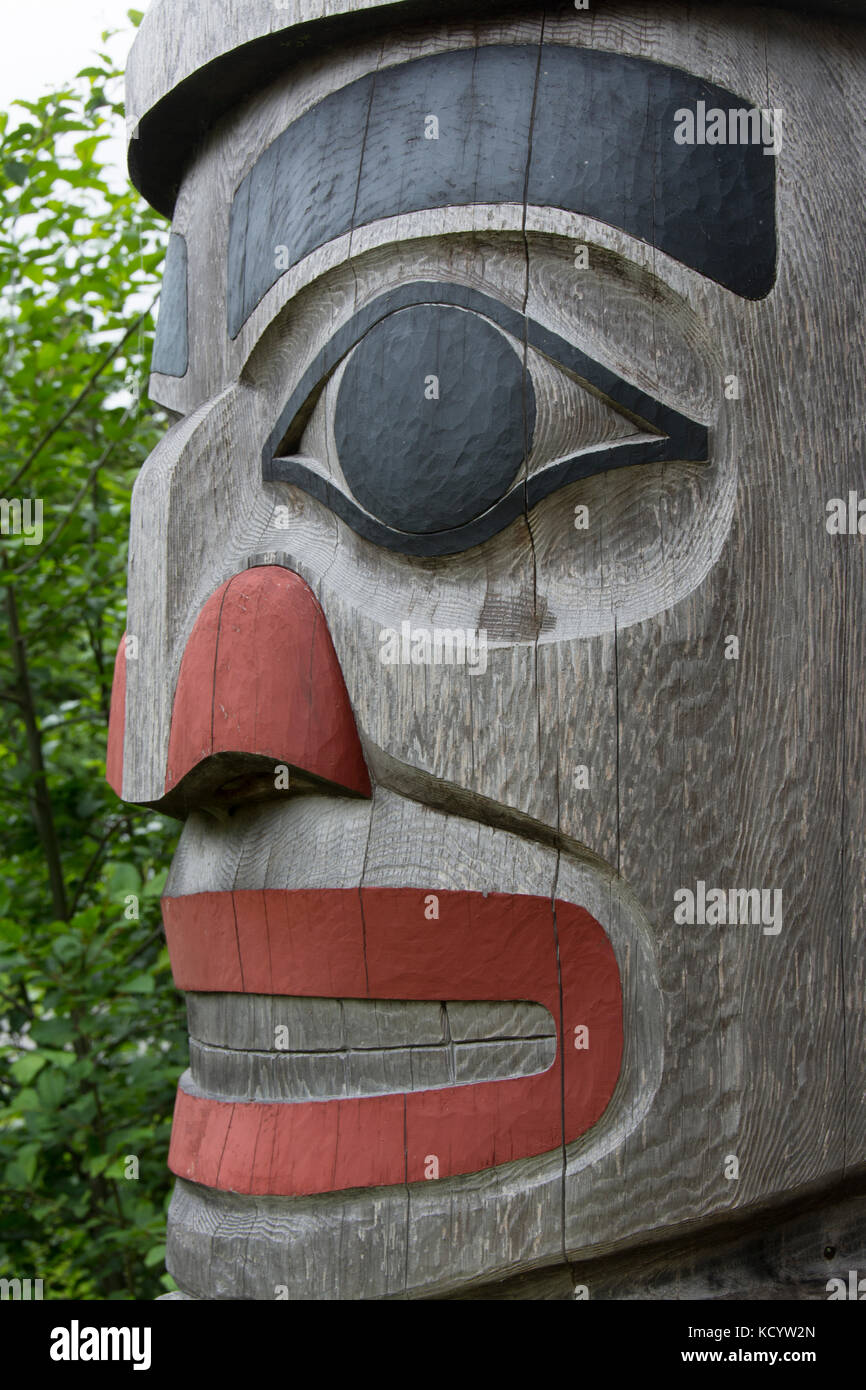 Detail fromm Welcome to Massett road sign, Haida Gwaii, formerly known as Queen Charlotte Islands, British Columbia, - Stock Image