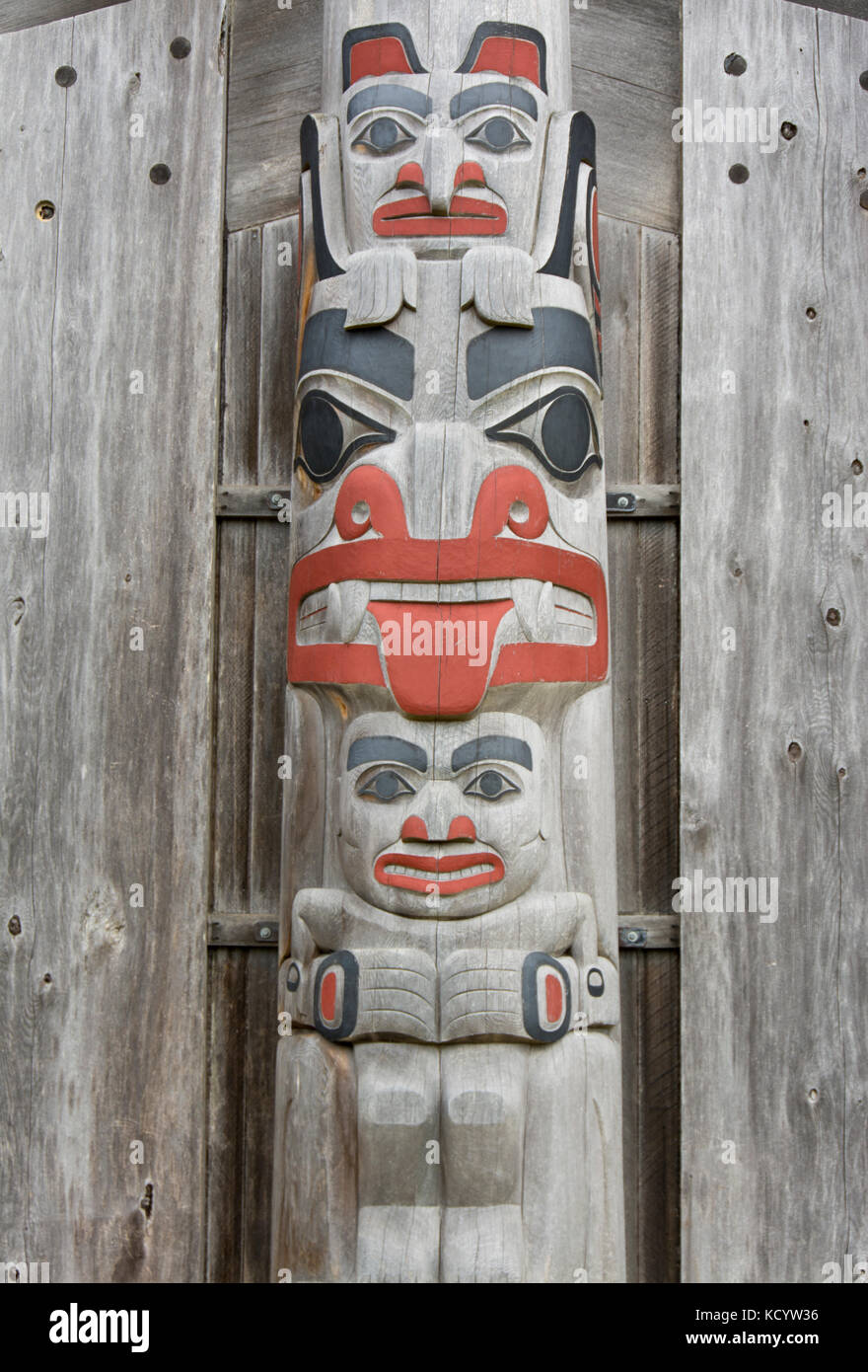 Totem pole detail, Old Massett school, Haida Gwaii, formerly known as Queen Charlotte Islands, British Columbia, - Stock Image