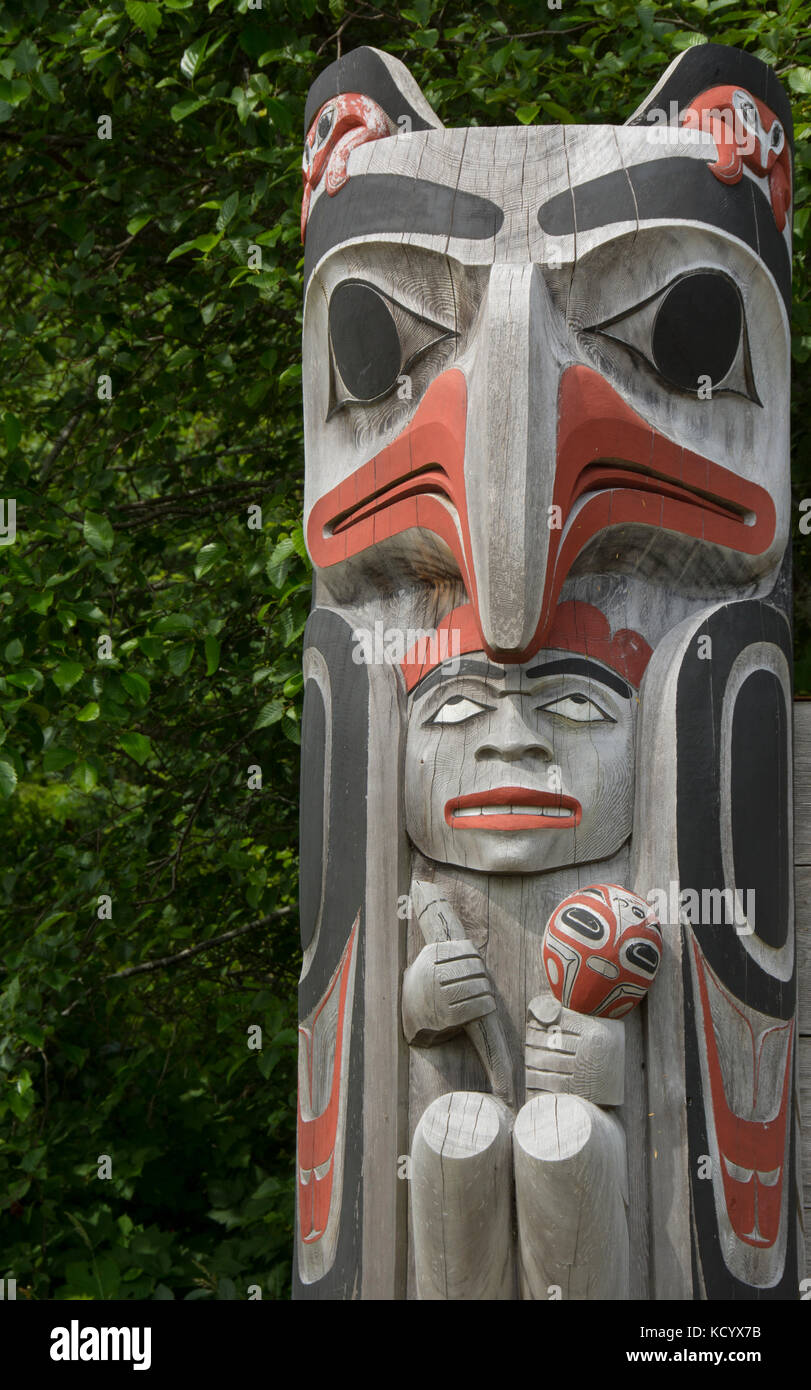 Welcome sign detail, Old Massett, Haida Gwaii, formerly known as Queen Charlotte Islands, British Columbia, Canada - Stock Image