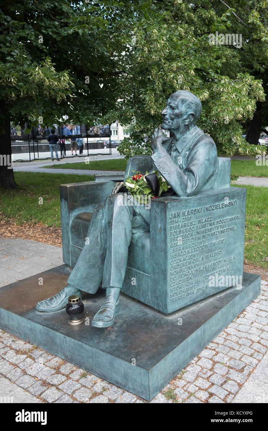 The Jan Karski bench. A memorial in Warsaw Poland to Jan Karski, World War II Polish resistance fighter, and professor Stock Photo