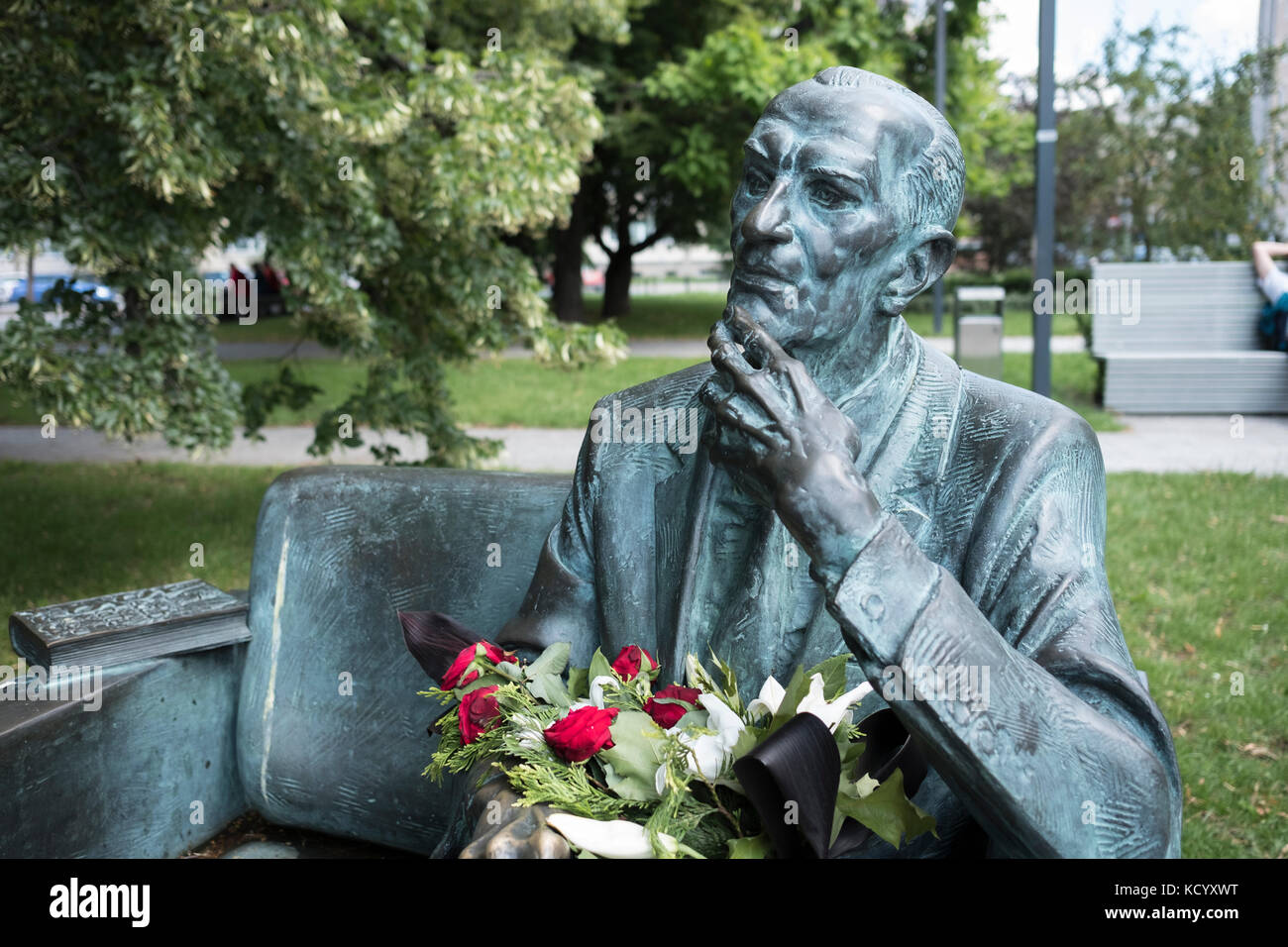 The Jan Karski bench. A memorial in Warsaw Poland to Jan Karski, World War II Polish resistance fighter, and professor Stock Photo