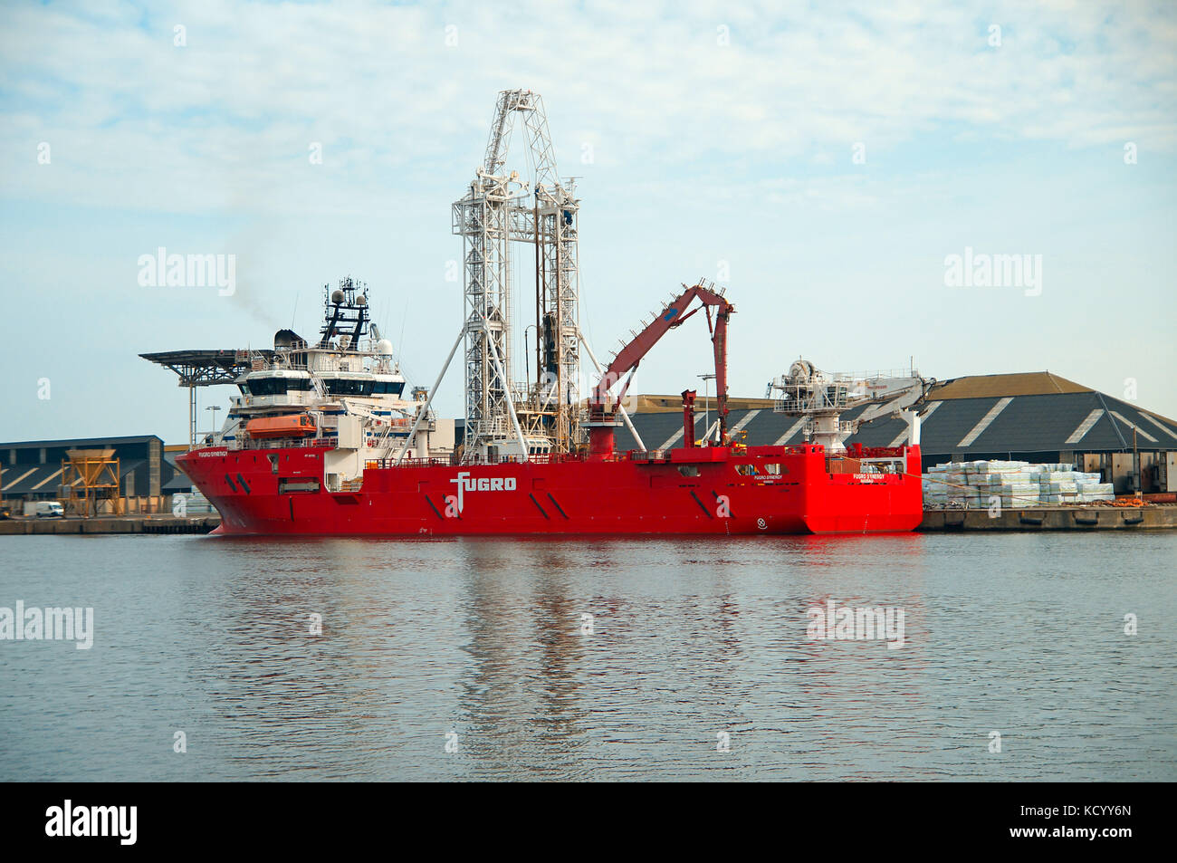 The Fugro Synergy , here in St Malo port, represents a new generaton high technology drillship built to deliver - Stock Image