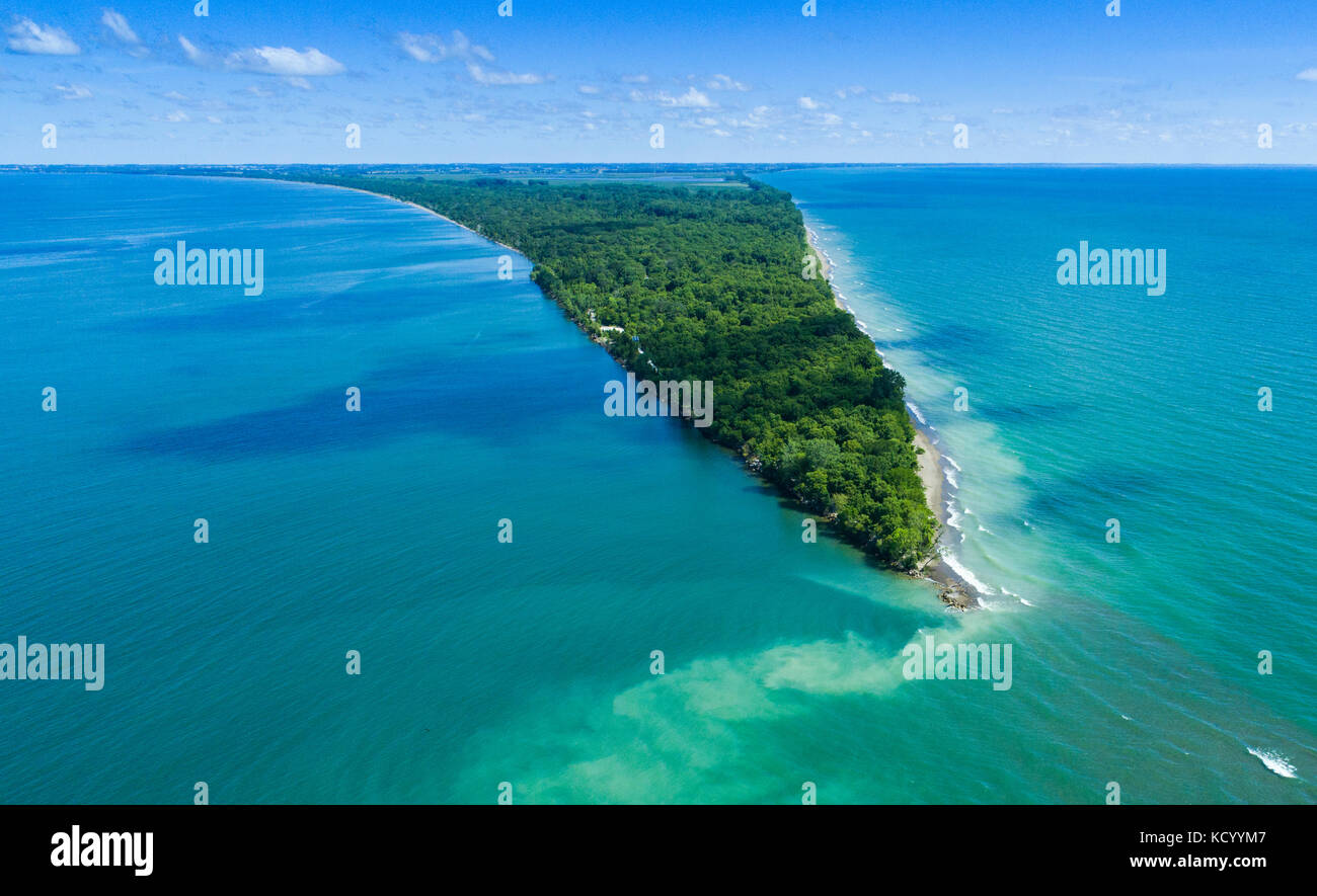Aerial of Point Pelee National Park, a national park in Essex County in southwestern Ontario, Canada on Lake Erie - Stock Image