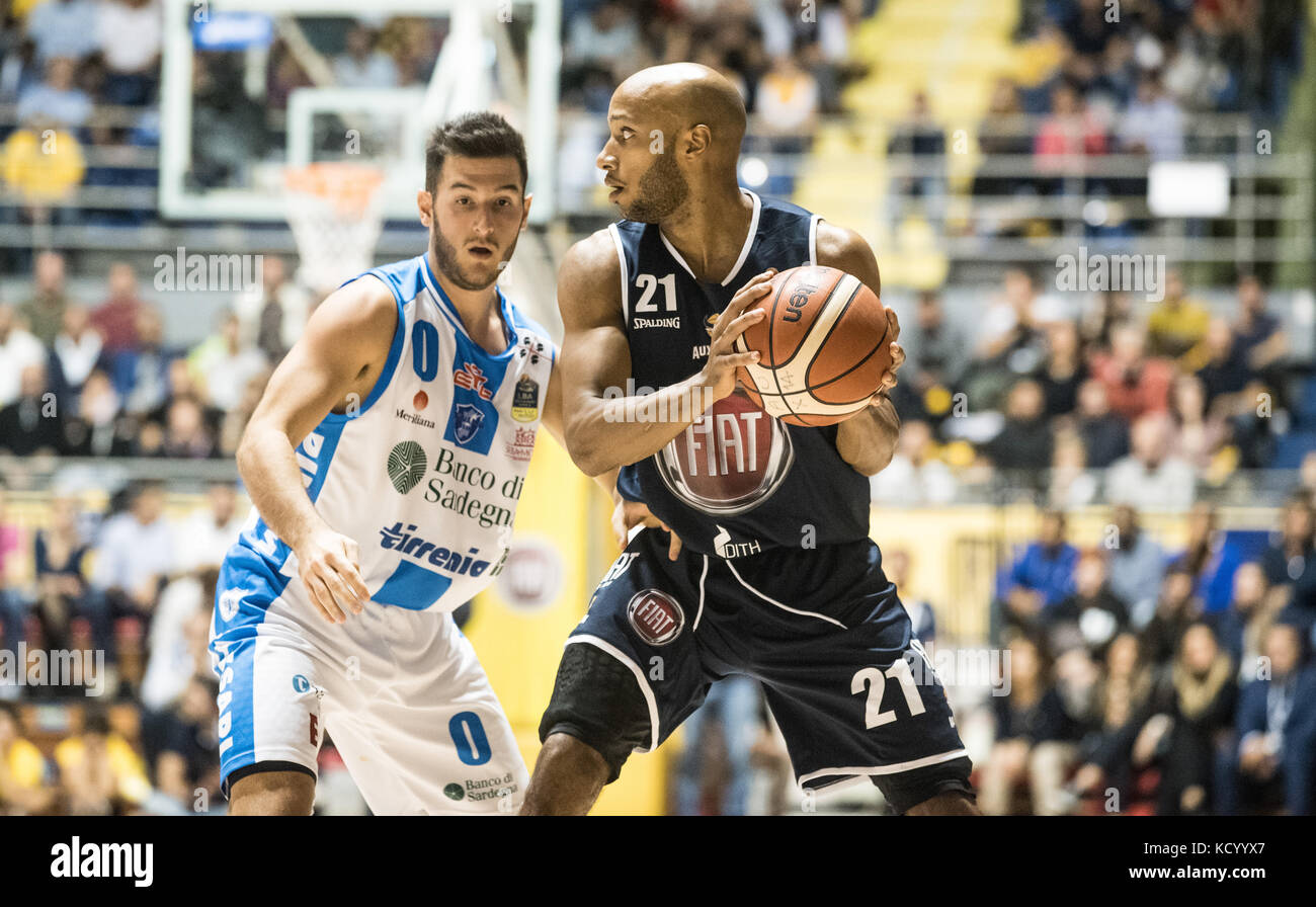 Turin, Italy. 07th Oct, 2017. Andre Jones during the Serie A an Basketball match Fiat Torino Auxilium vs Dinamo Stock Photo