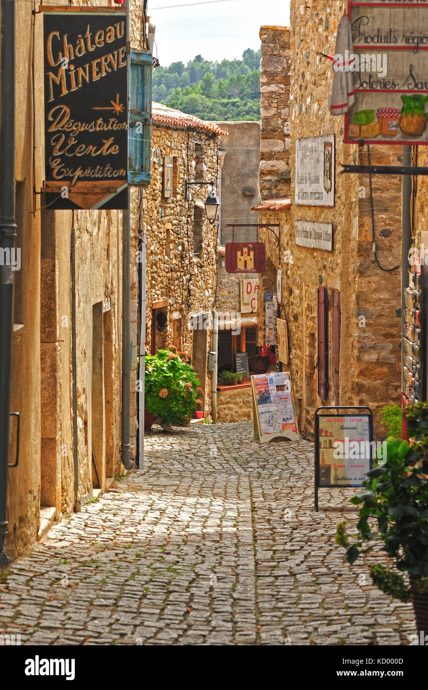 Rue des Martyrs, Minerve, Herault Department, Languedoc-Roussillon, France Stock Photo