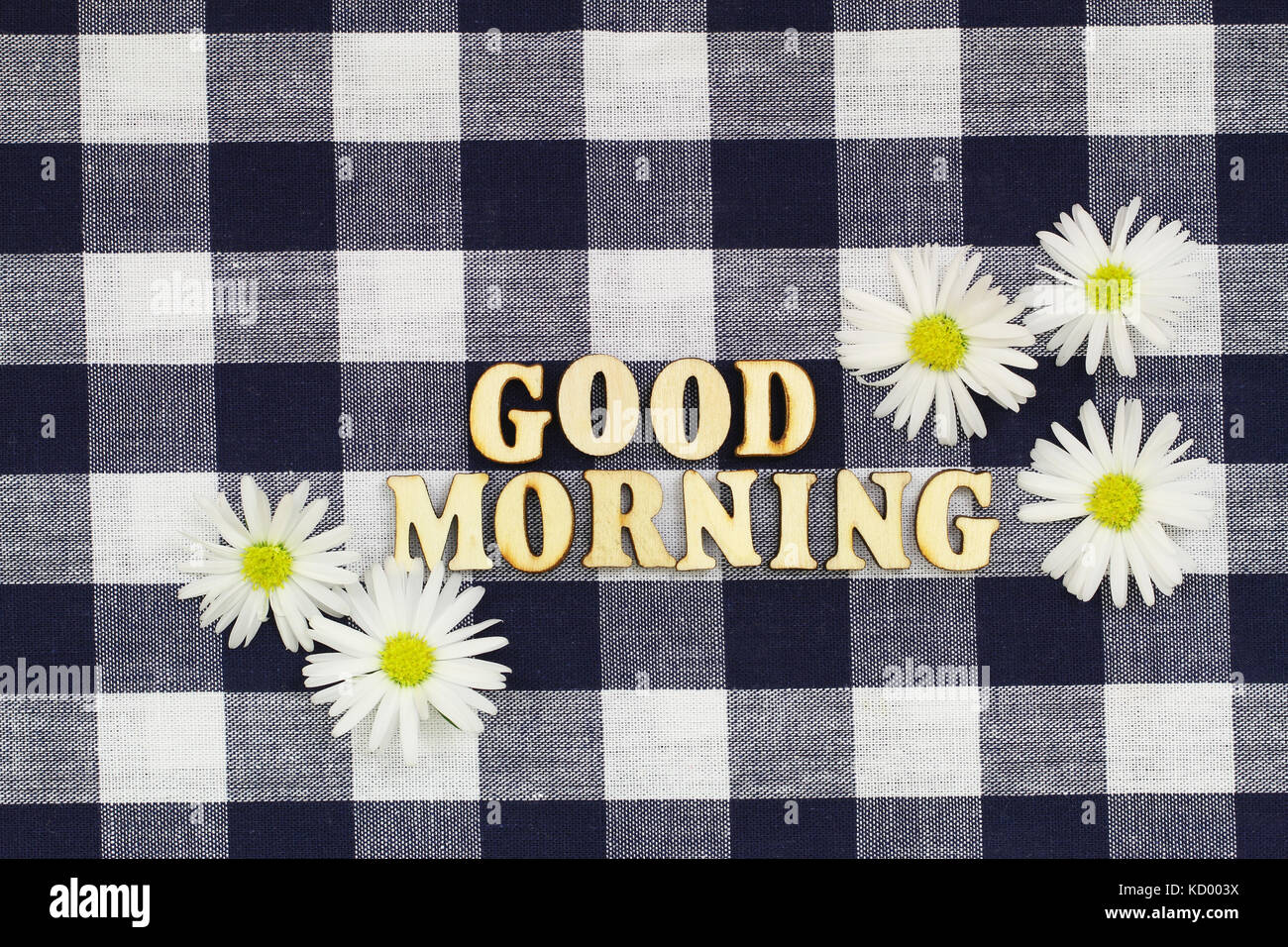 Good morning daisy stock photos good morning daisy stock images good morning written with wooden letters on checkered cloth with white daisy flowers stock image izmirmasajfo