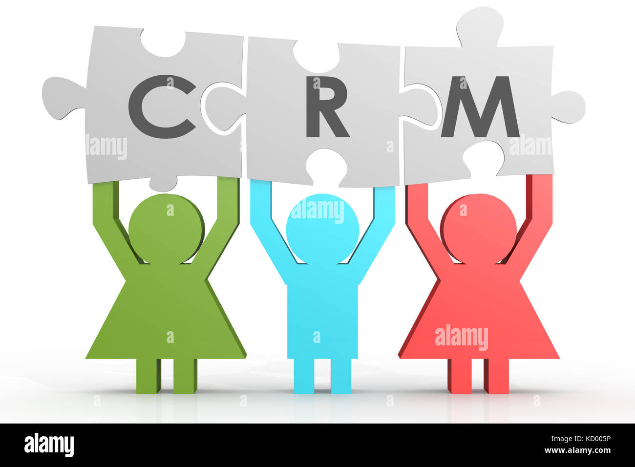 CRM - Customer Relationship Management puzzle in a line image with hi-res rendered artwork that could be used for - Stock Image