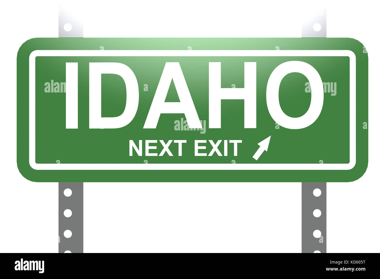 Idaho green sign board isolated image with hi-res rendered artwork that could be used for any graphic design. - Stock Image