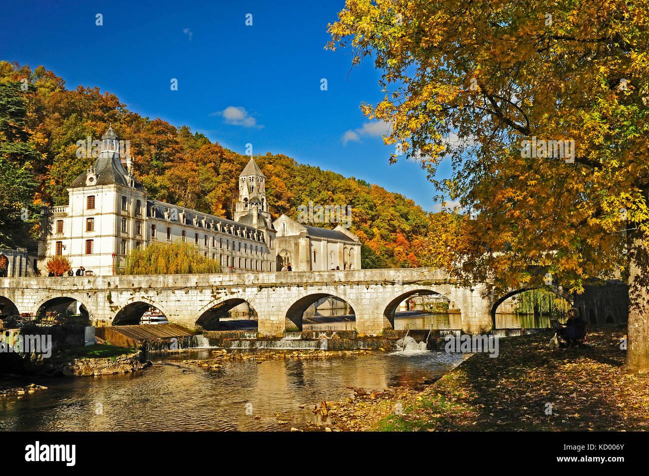 The Angled Bridge, Pont Coude, and Benedictine Abbey of Brantome, Brantome, Dordogne Department, Aquitaine, France - Stock Image