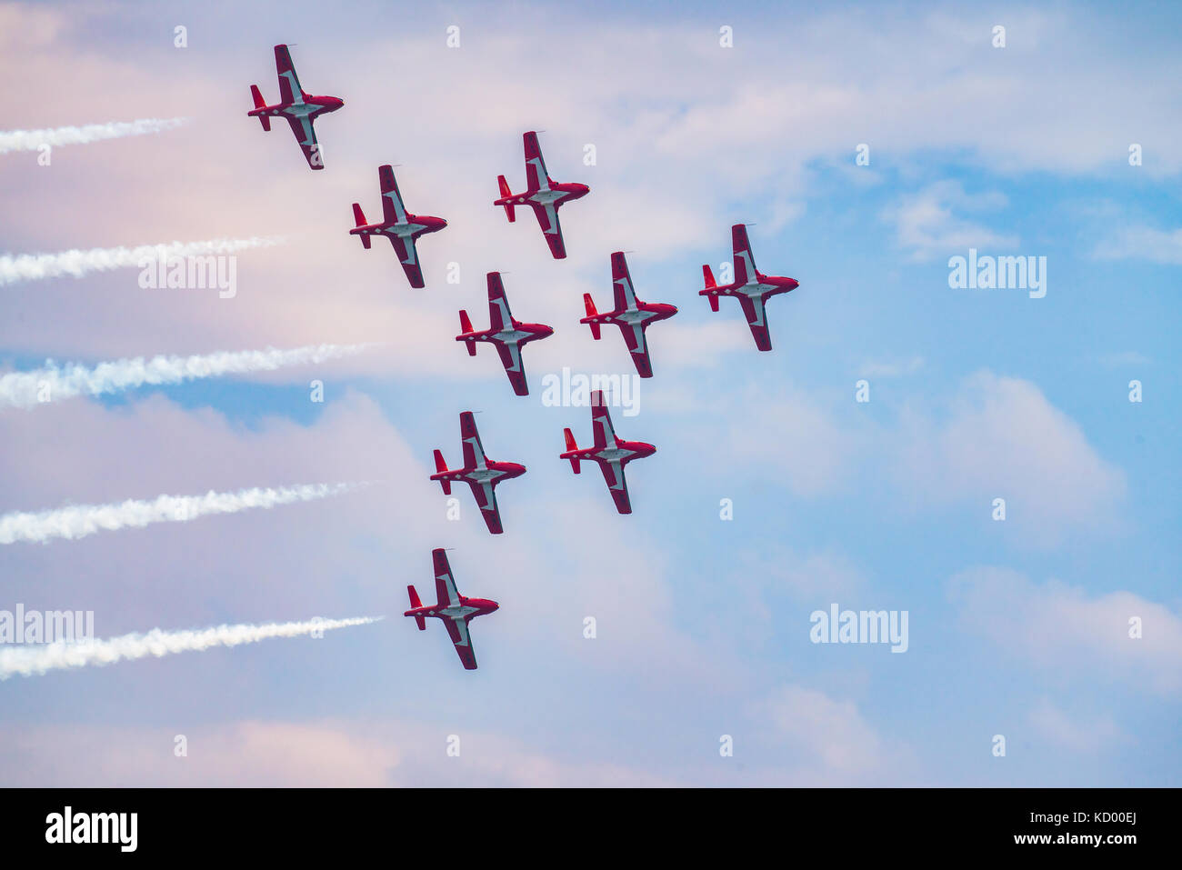 Snow Birds fleet flying in formation at the North Bay Air Show in celebration of 150 year  anniversary of Canada Stock Photo
