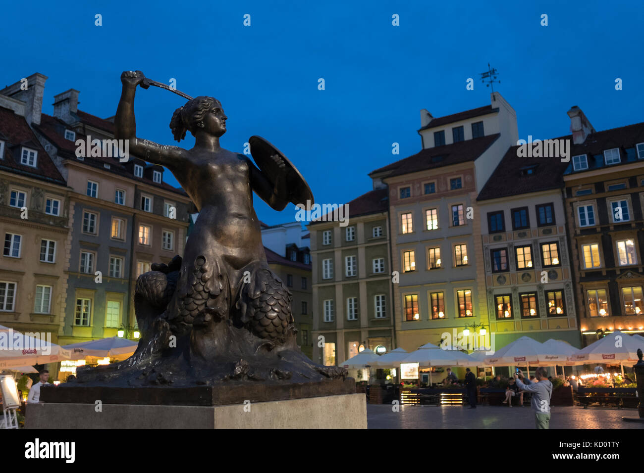 The Mermaid Statue in the Old Town Square of Rynek Starego Miasta, Warsaw, Poland, - Stock Image