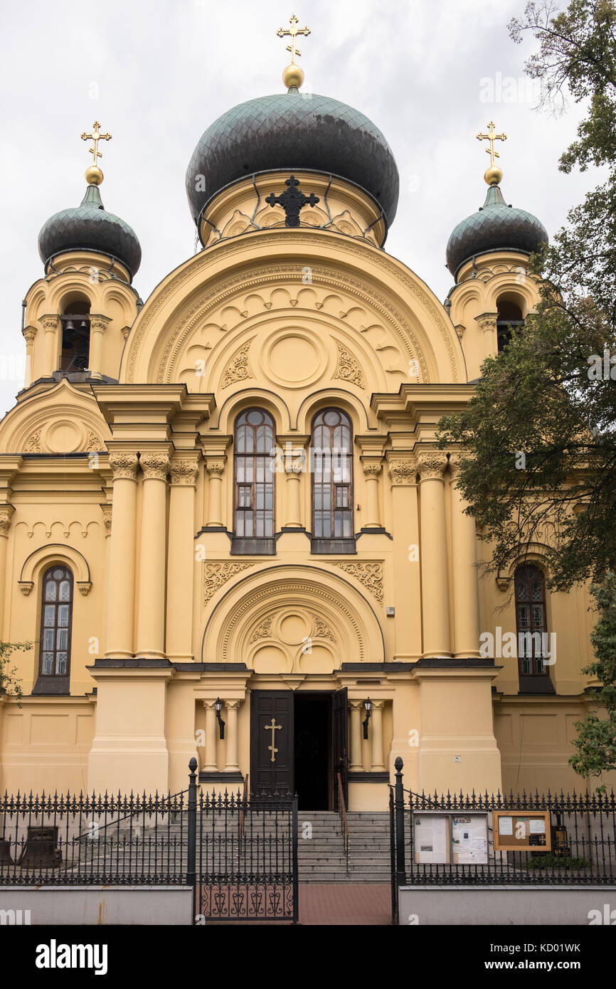 The Russo-Byzantine style Orthodox Church in the Praga district of Warsaw, Poland - Stock Image