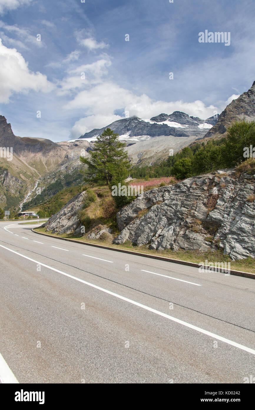 Simplon Pass, Switzerland. Picturesque view of the E62, at the summit of the Simplon Pass. - Stock Image