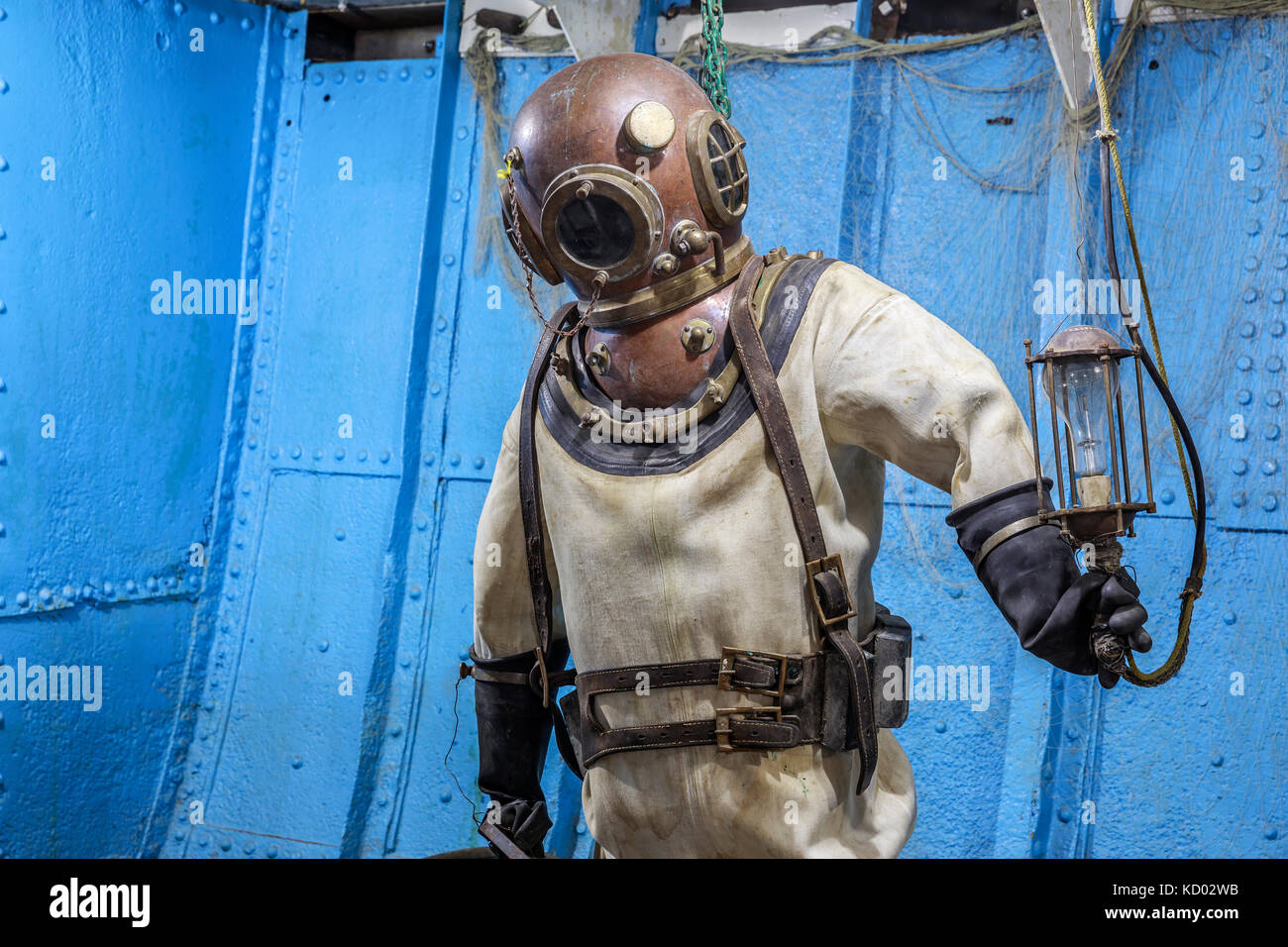 Antique diving suit, Marine Museum of Manitoba, Selkirk, Manitoba, Canada - Stock Image