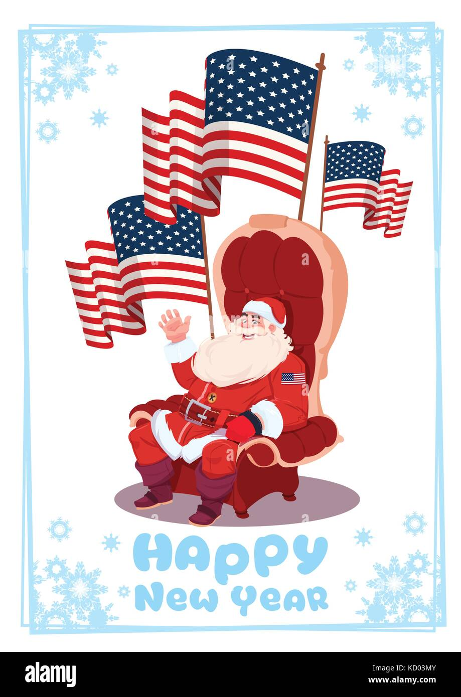 merry christmas and happy new year greeting card with santa claus sitting hold usa flag winter