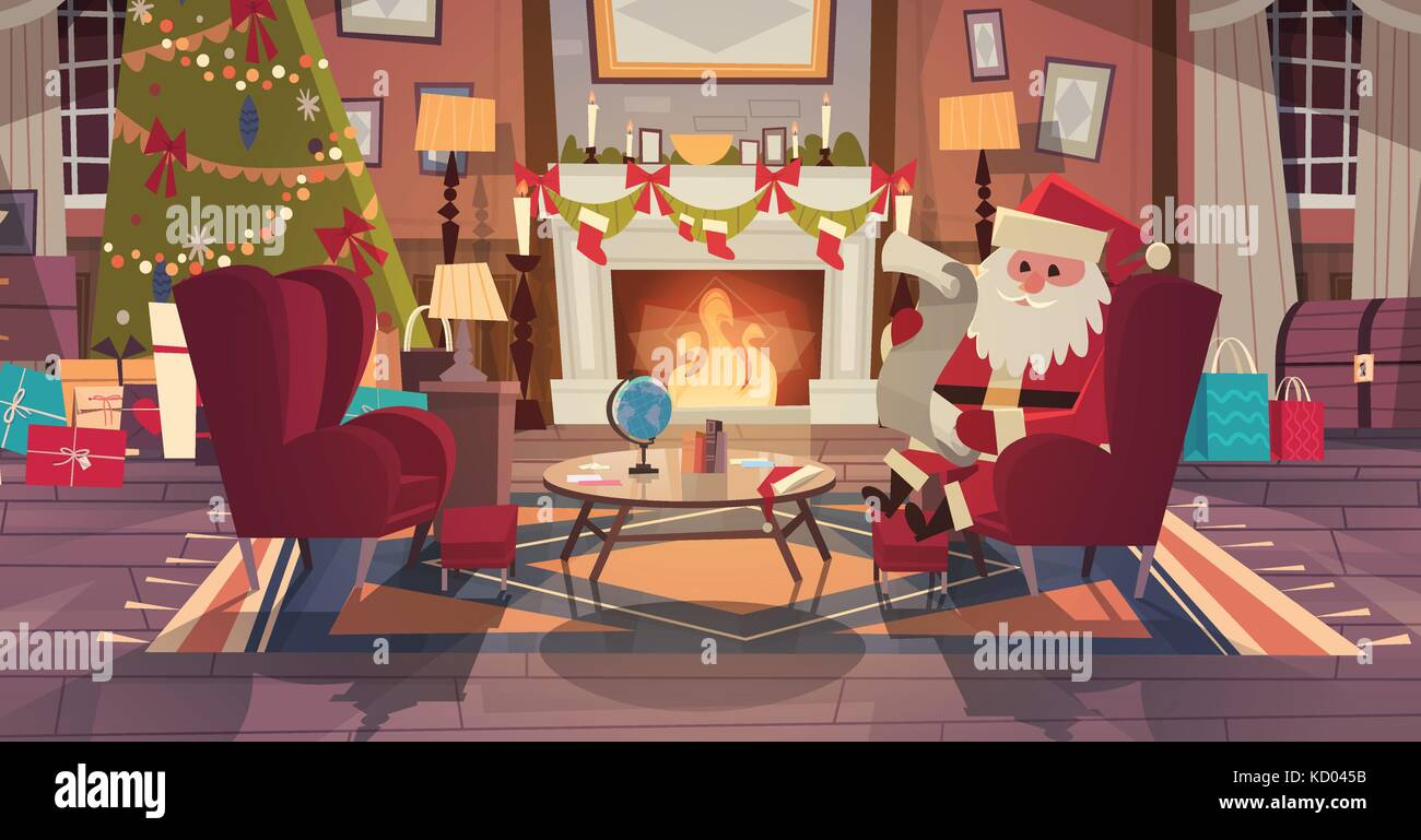 Santa Claus In Living Room Decorated For Christmas And New Year Sit