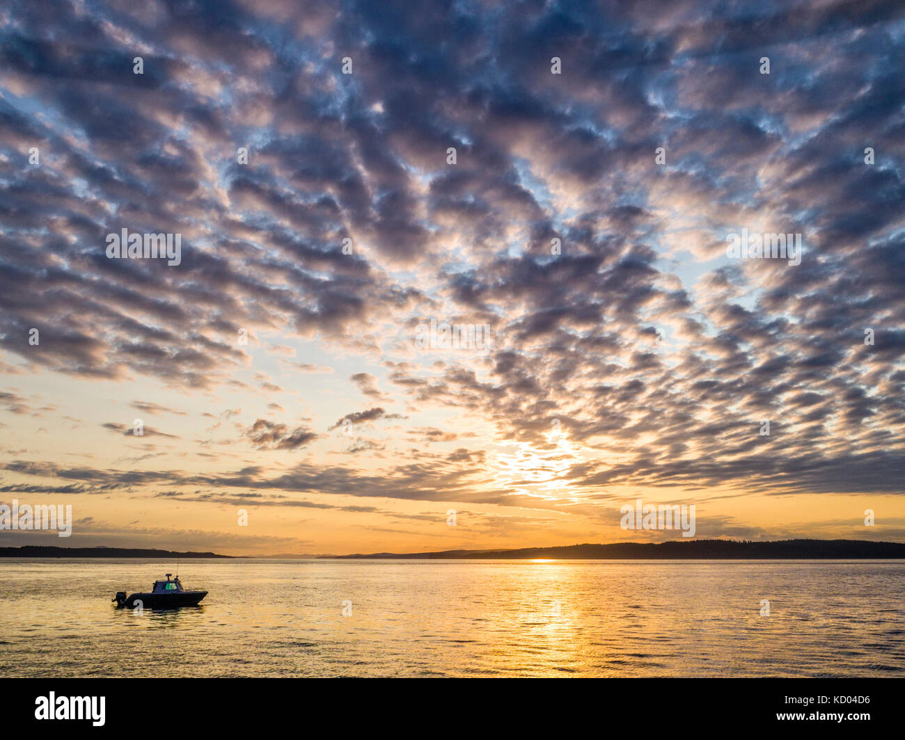 The 'Ambient Light' tour boat (Vancouver Island Photo Tours) during the sunset tour in Weynton Passage off - Stock Image