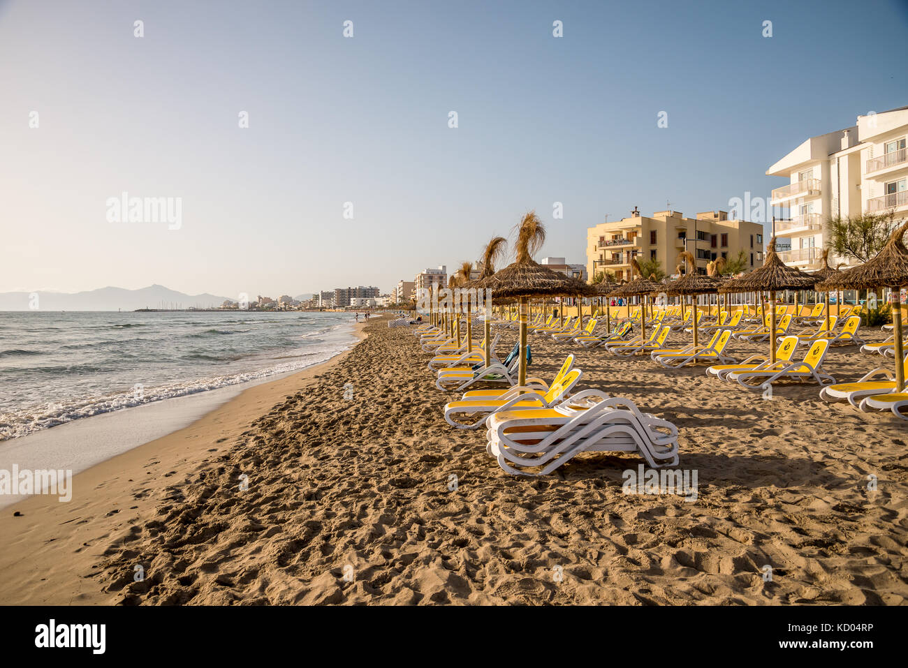 Playa de Muro beach view in Can Picafort, Alcudia Bay, Mallorca - Stock Image