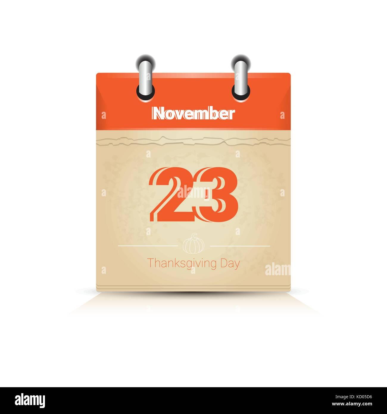 23 November Calendar Page Thanksgiving Day Autumn Traditional Holiday - Stock Vector