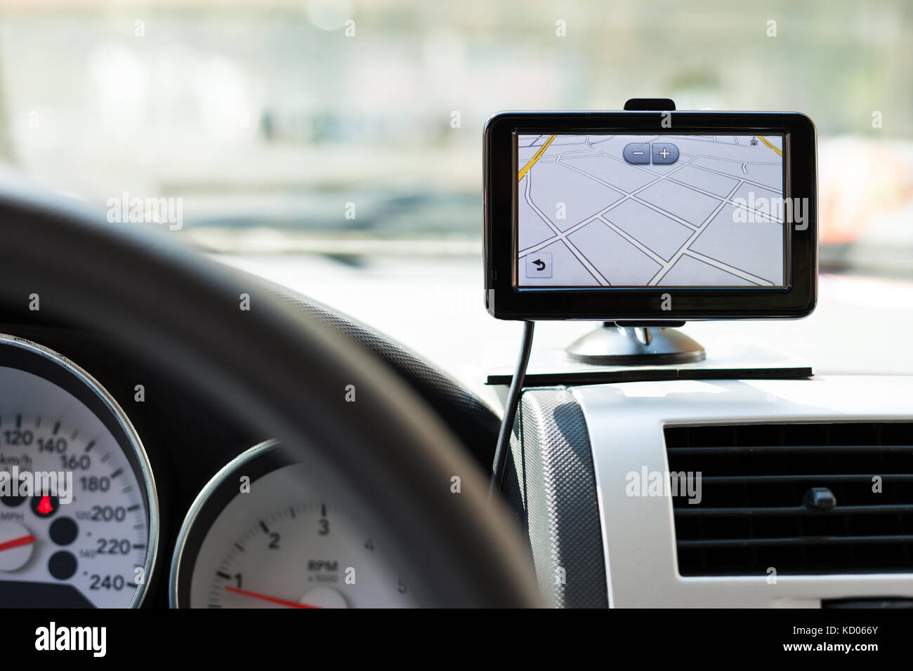 GPS navigation system in a traveling car - Stock Image