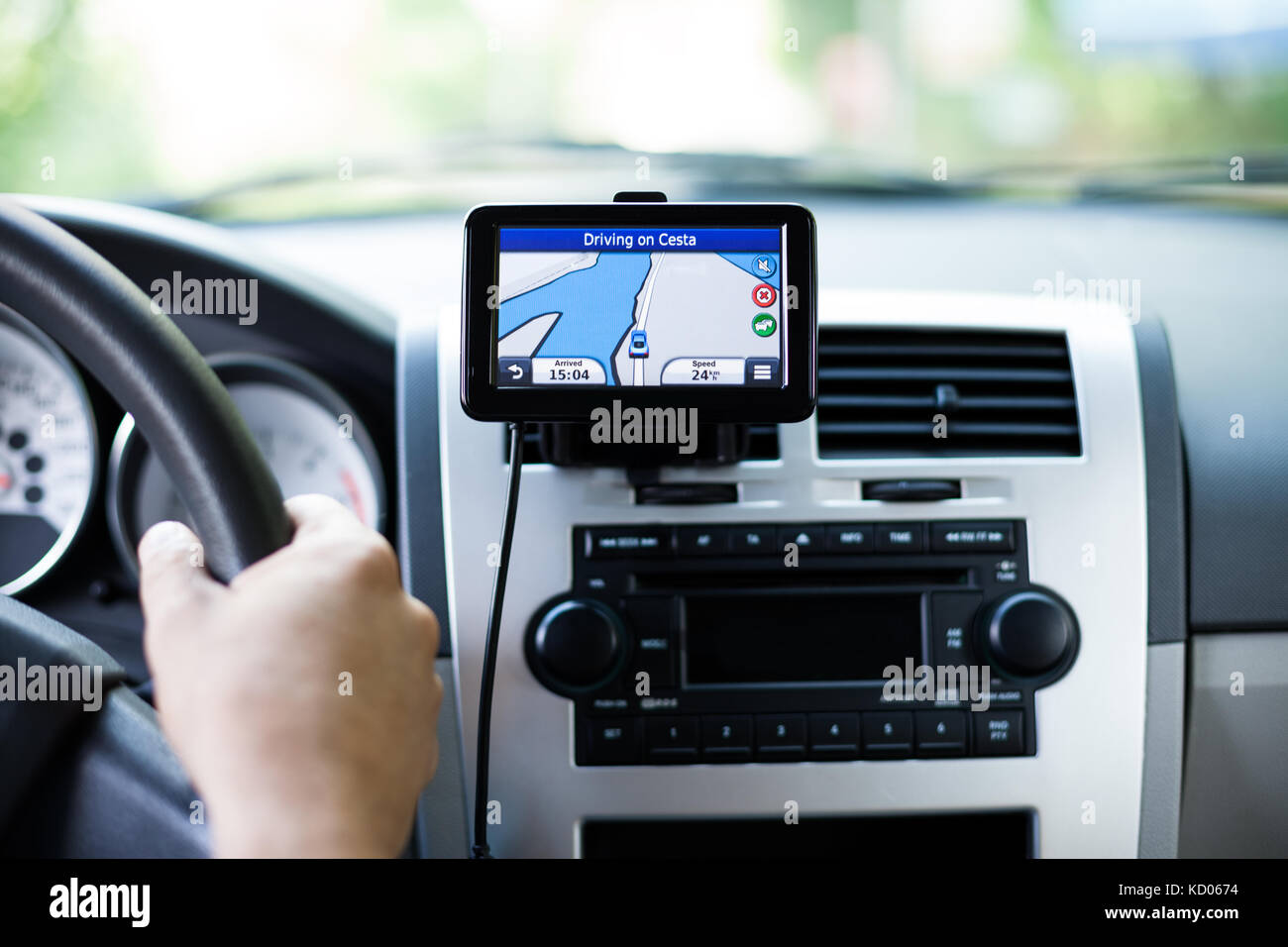 GPS navigation in interior of luxury car - Stock Image