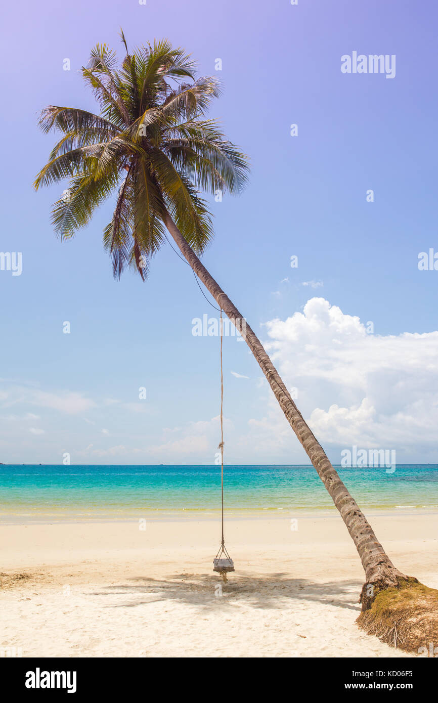 Wooden swing hanging on the beach on Koh Kood island in Thailand. - Stock Image