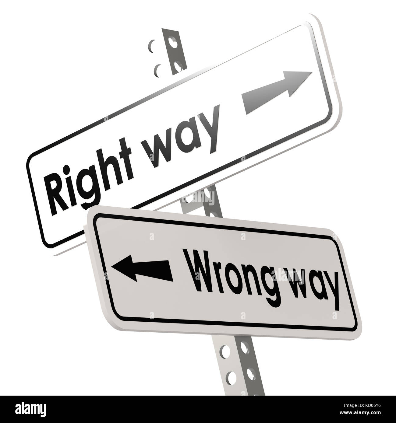 Right way and wrong way with white road sign image with hi-res rendered artwork that could be used for any graphic - Stock Image