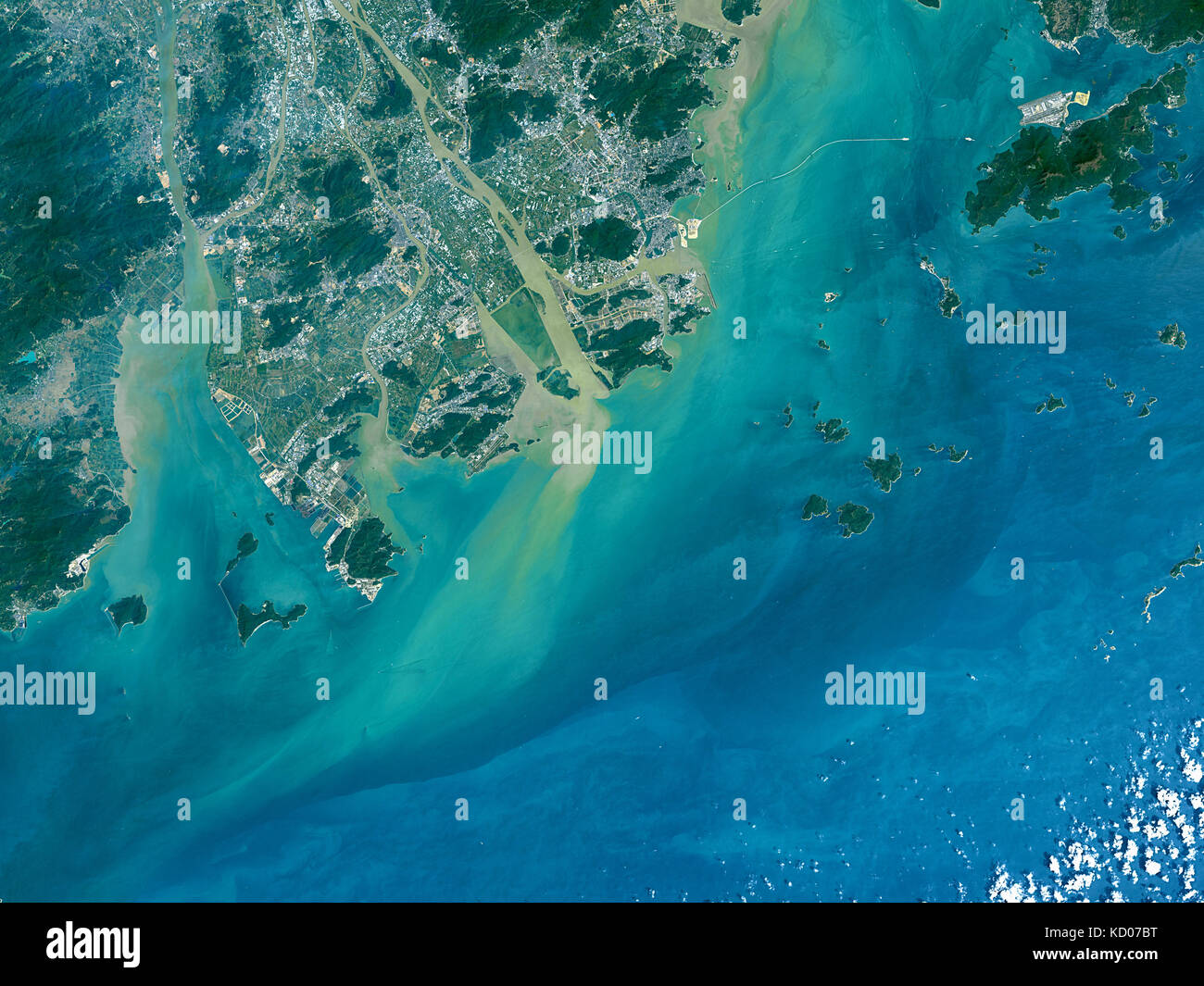 Satellite image of the Honk Kong and the Pearl River delta, Hong Kong - Stock Image
