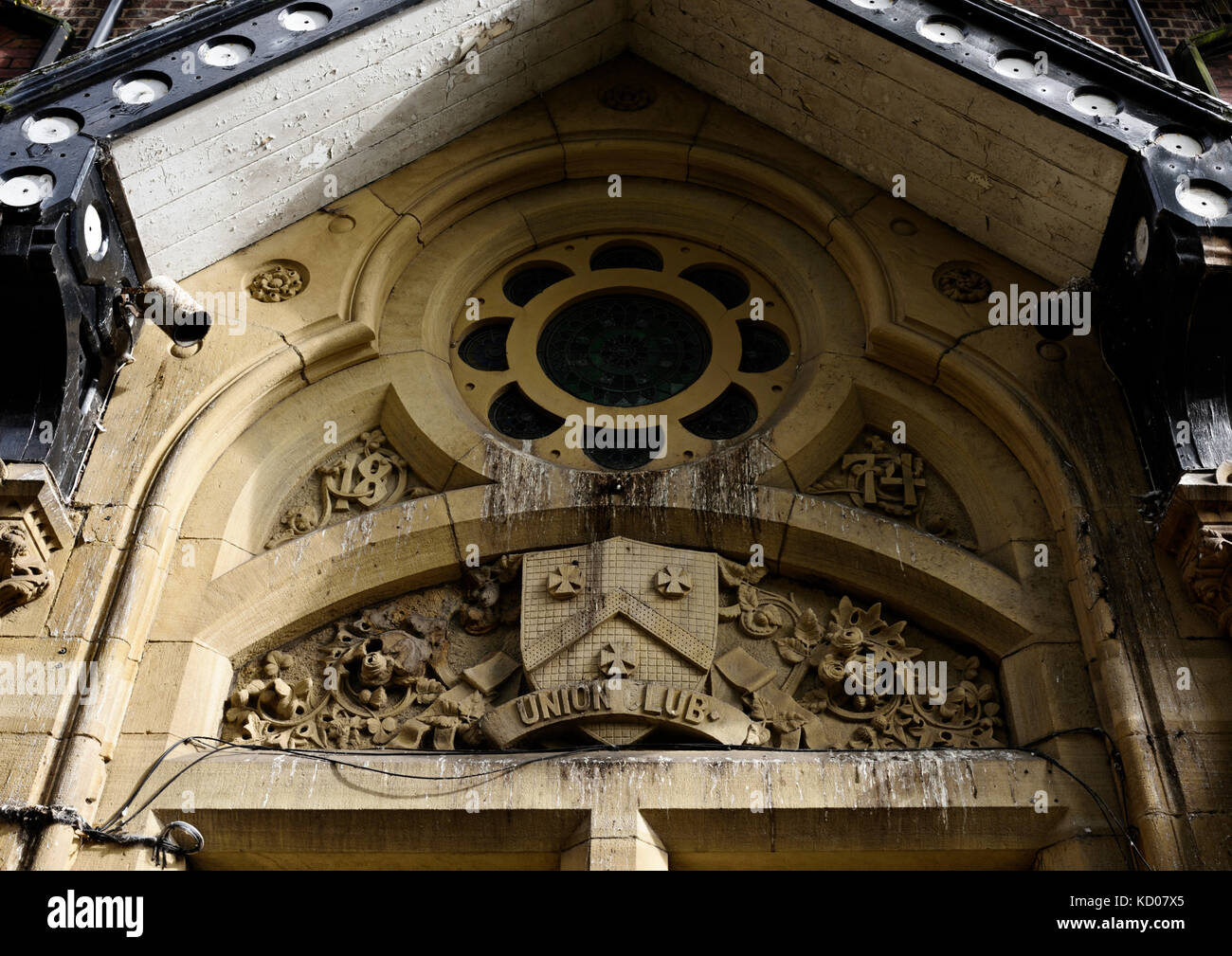 Pigeon droppings on ornate carved stonework in bury lancashire - Stock Image