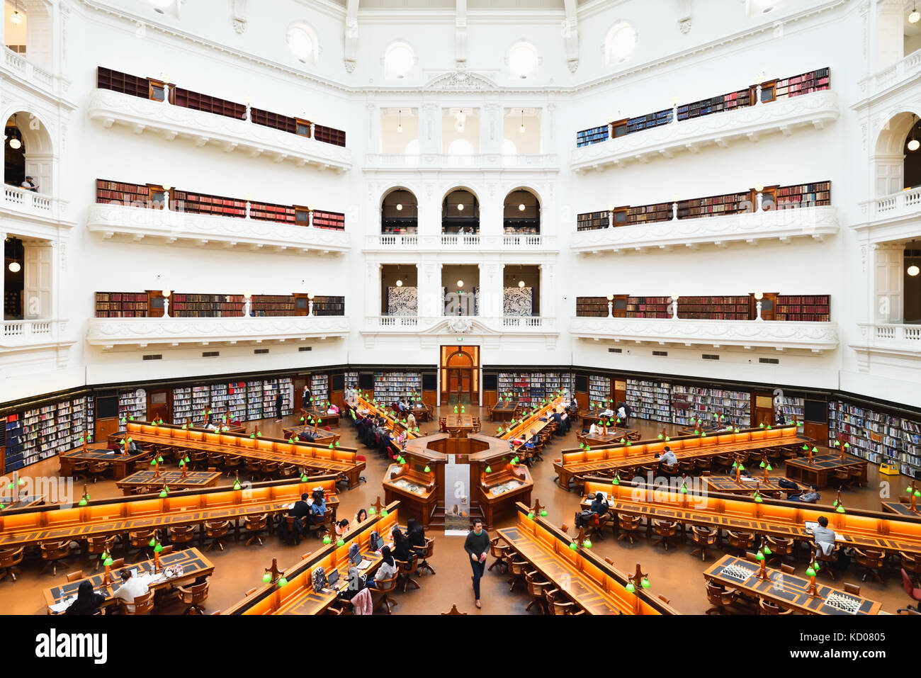 Australia Melbourne: In the State Library of Victoria, the La Trobe Reading Room. An impressive view with its manyStock Photo