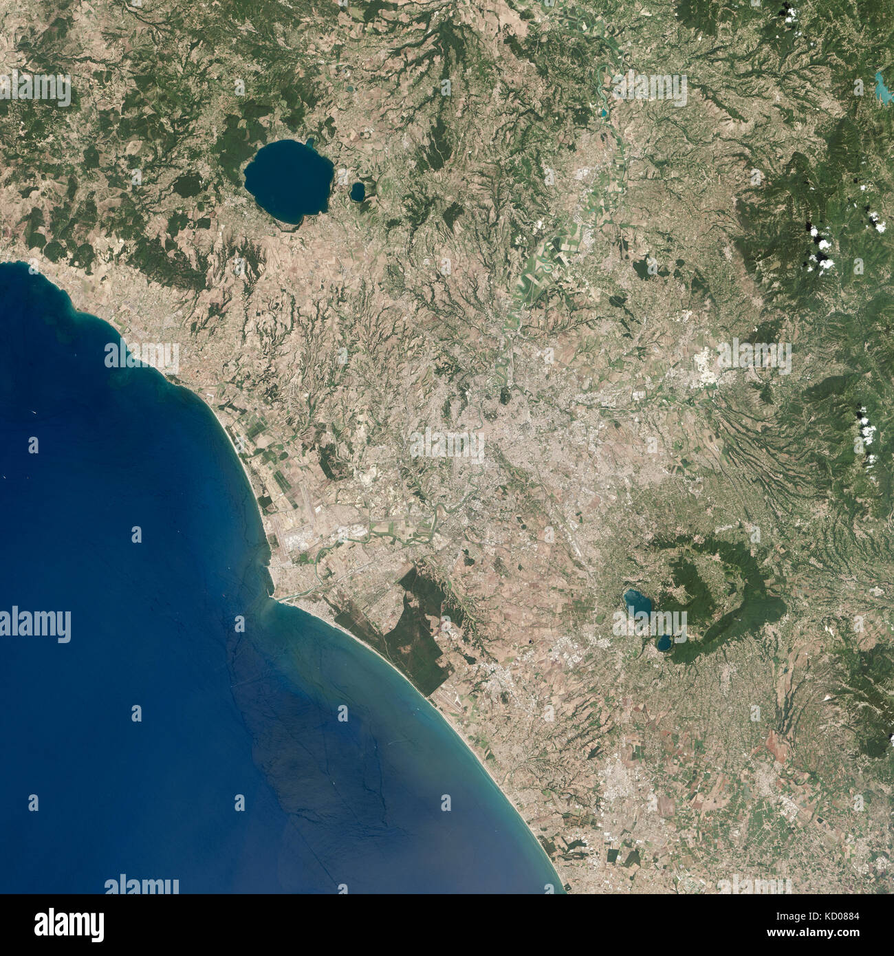 Rome and its coast, Italy, Satellite view - Stock Image
