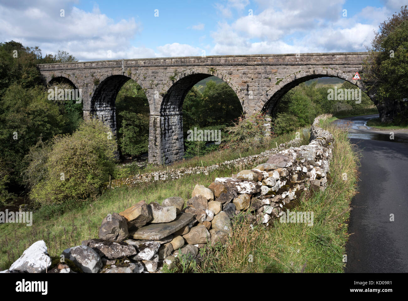 The redundant listed Appersett Viaduct on the former Wensleydale railway, near Hawes, North Yorkshire, UK - Stock Image