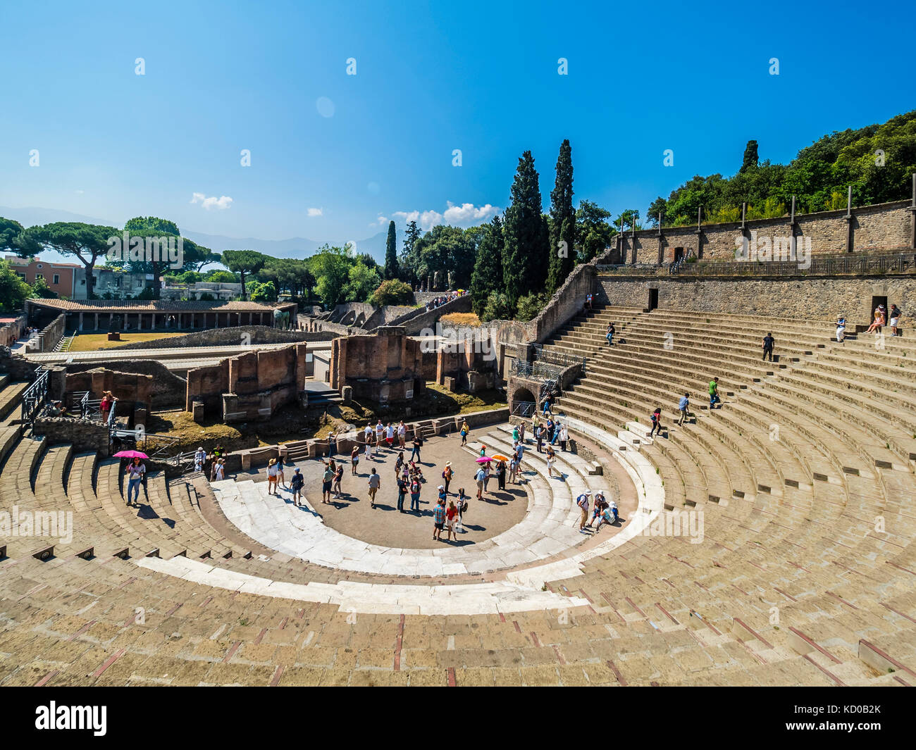 Small theatre stands, Odeion, excavations of Pompeii, Naples, Campania, Italy - Stock Image